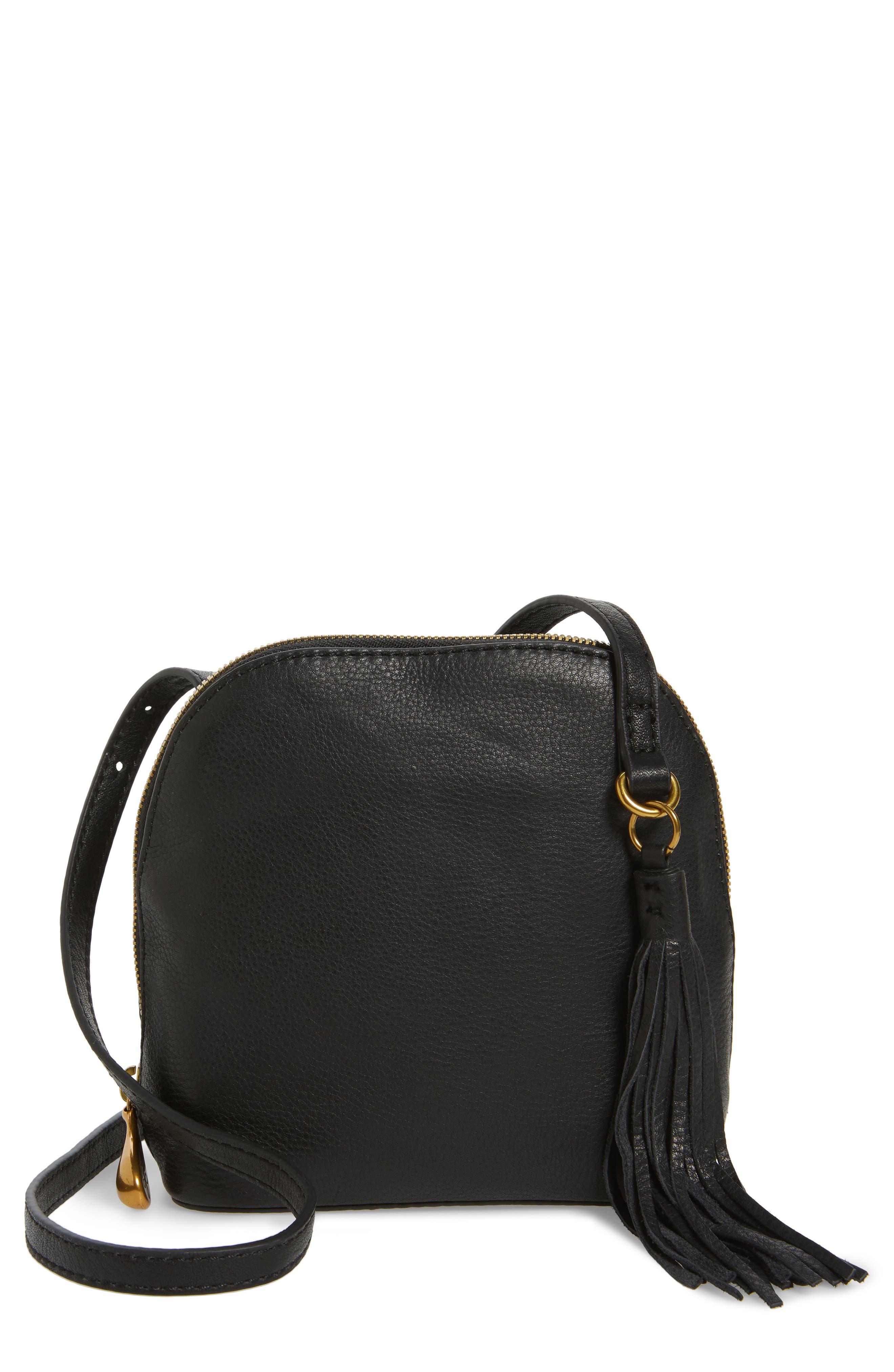 Nash Calfskin Leather Crossbody Bag,                             Main thumbnail 1, color,                             Black
