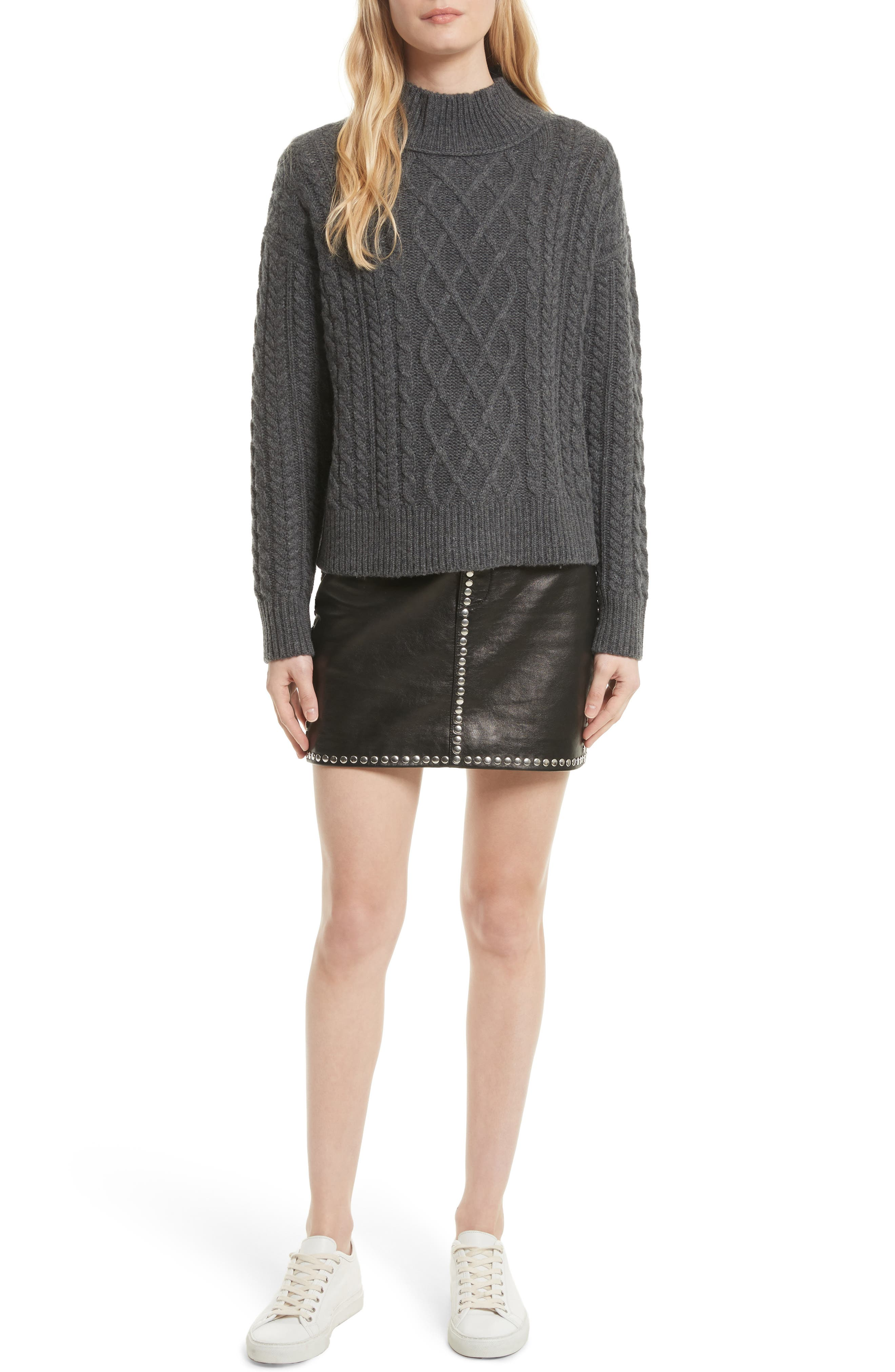 Wool & Cashmere Cable Knit Crop Sweater,                             Alternate thumbnail 2, color,                             Charcoal
