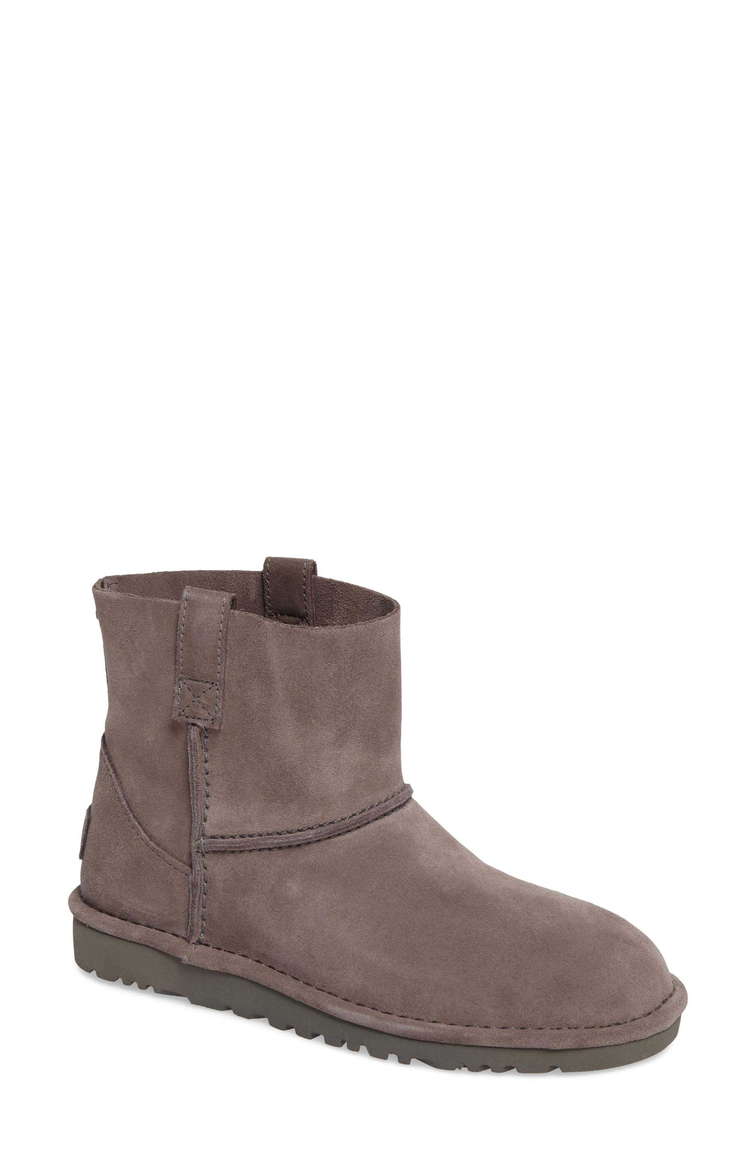 Classic Unlined Mini Boot,                             Main thumbnail 1, color,                             Charcoal Suede
