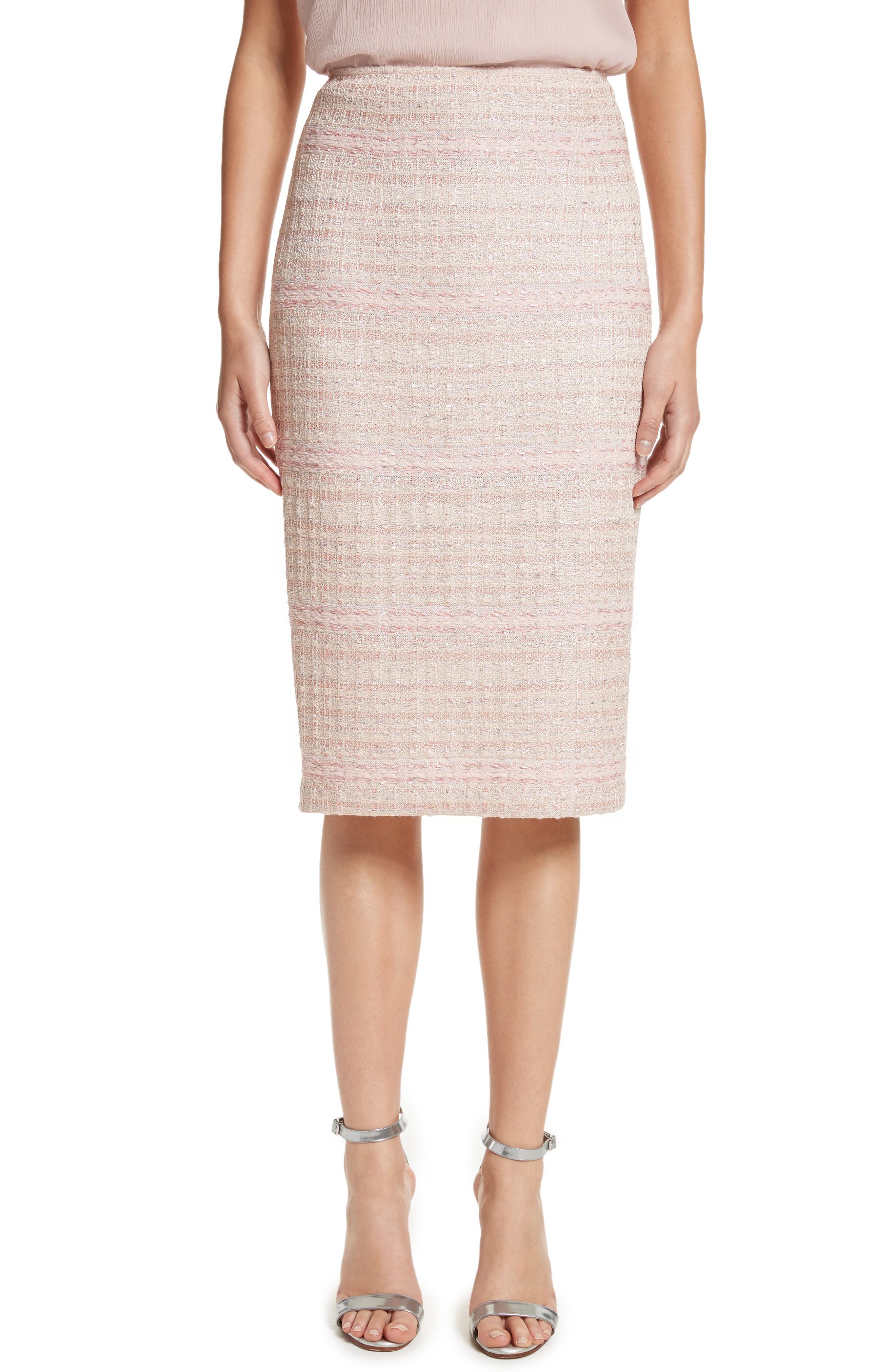 Main Image - St. John Collection Guilded Pastel Knit Skirt