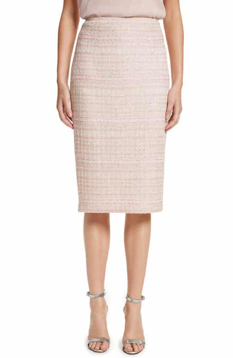 St. John Collection Guilded Pastel Knit Skirt