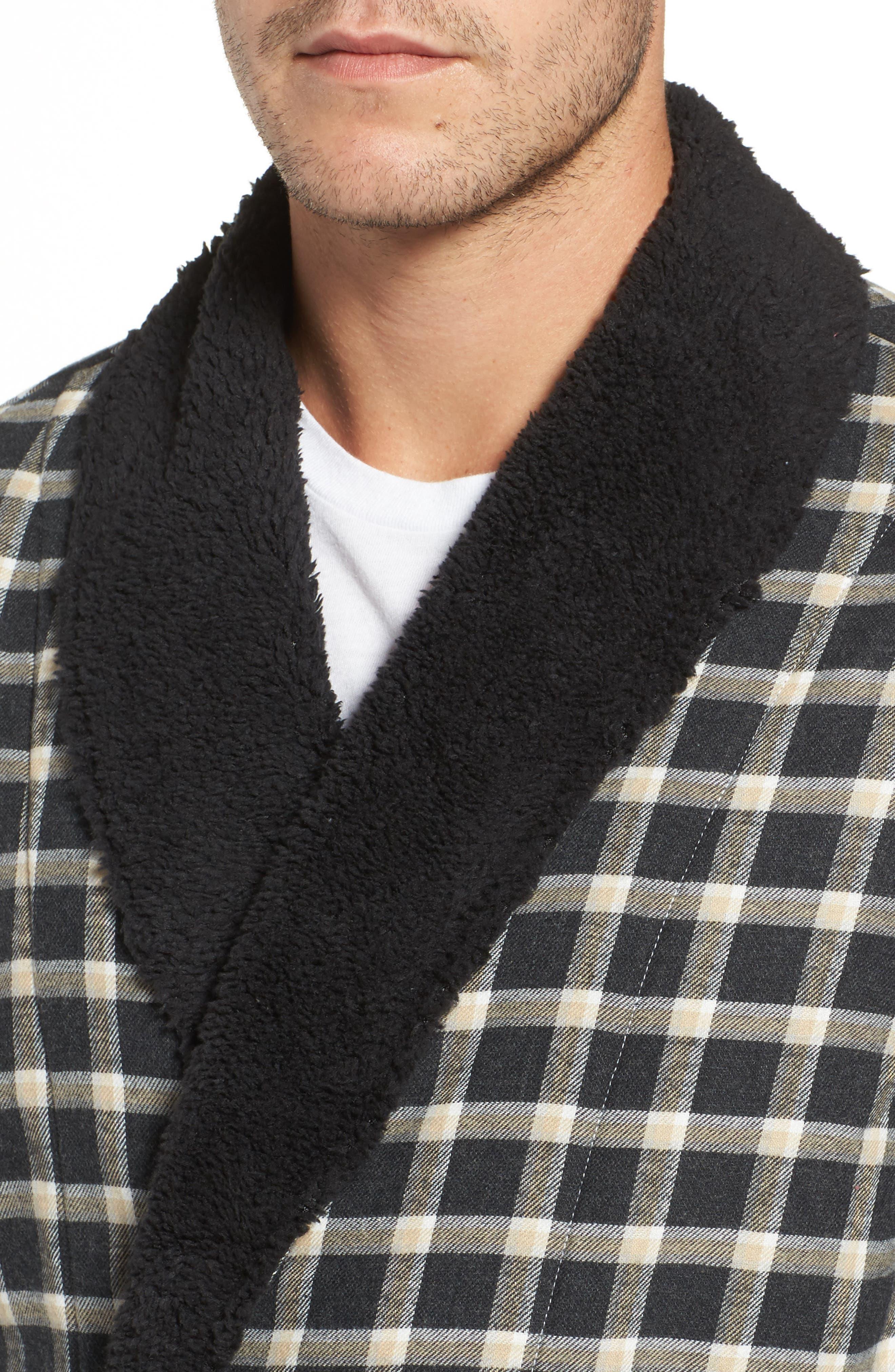 Kalib Plaid Flannel Robe,                             Alternate thumbnail 4, color,                             Black