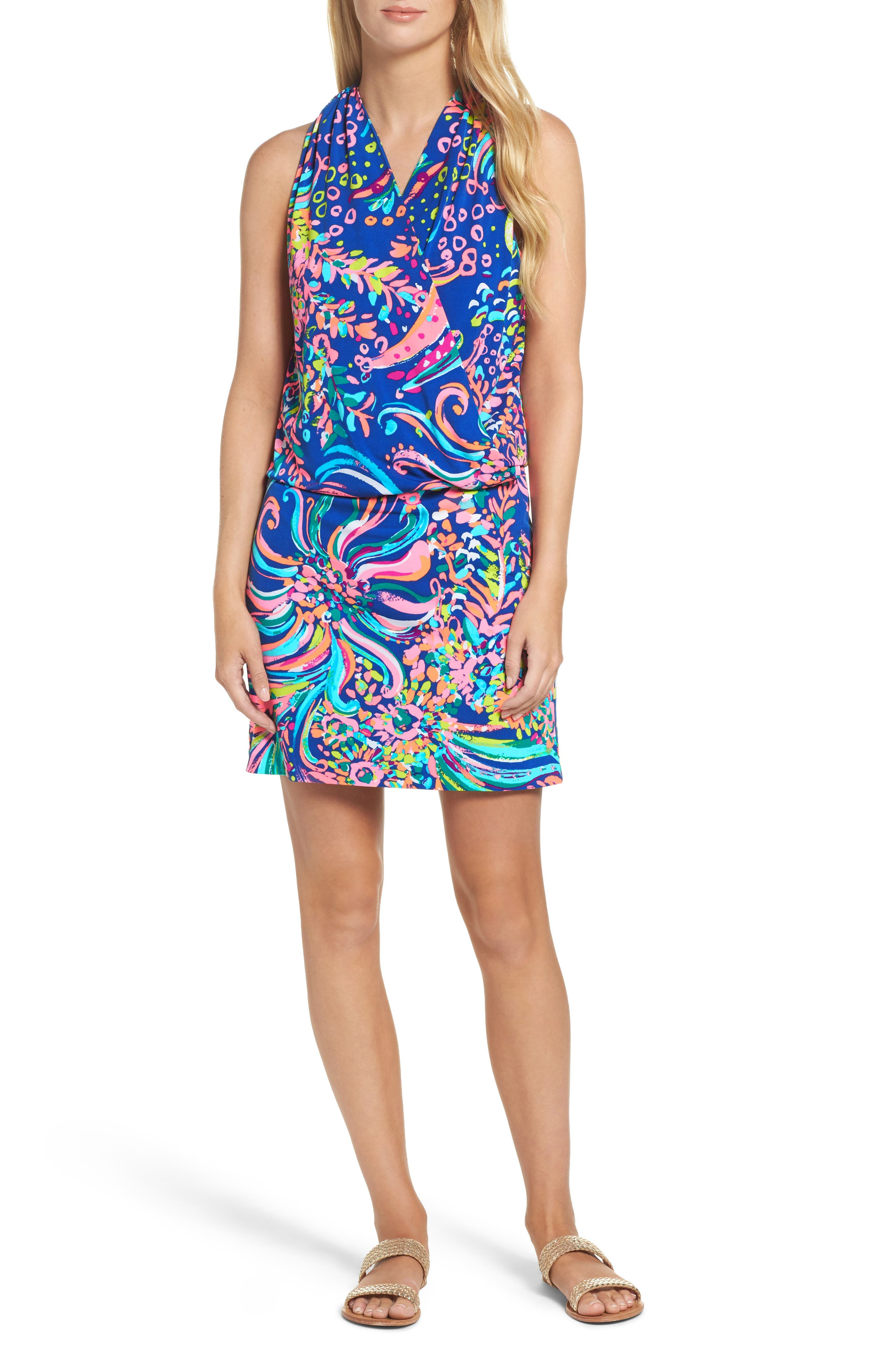 Felizia Blouson Dress,                             Main thumbnail 1, color,                             Multi Beach Loot