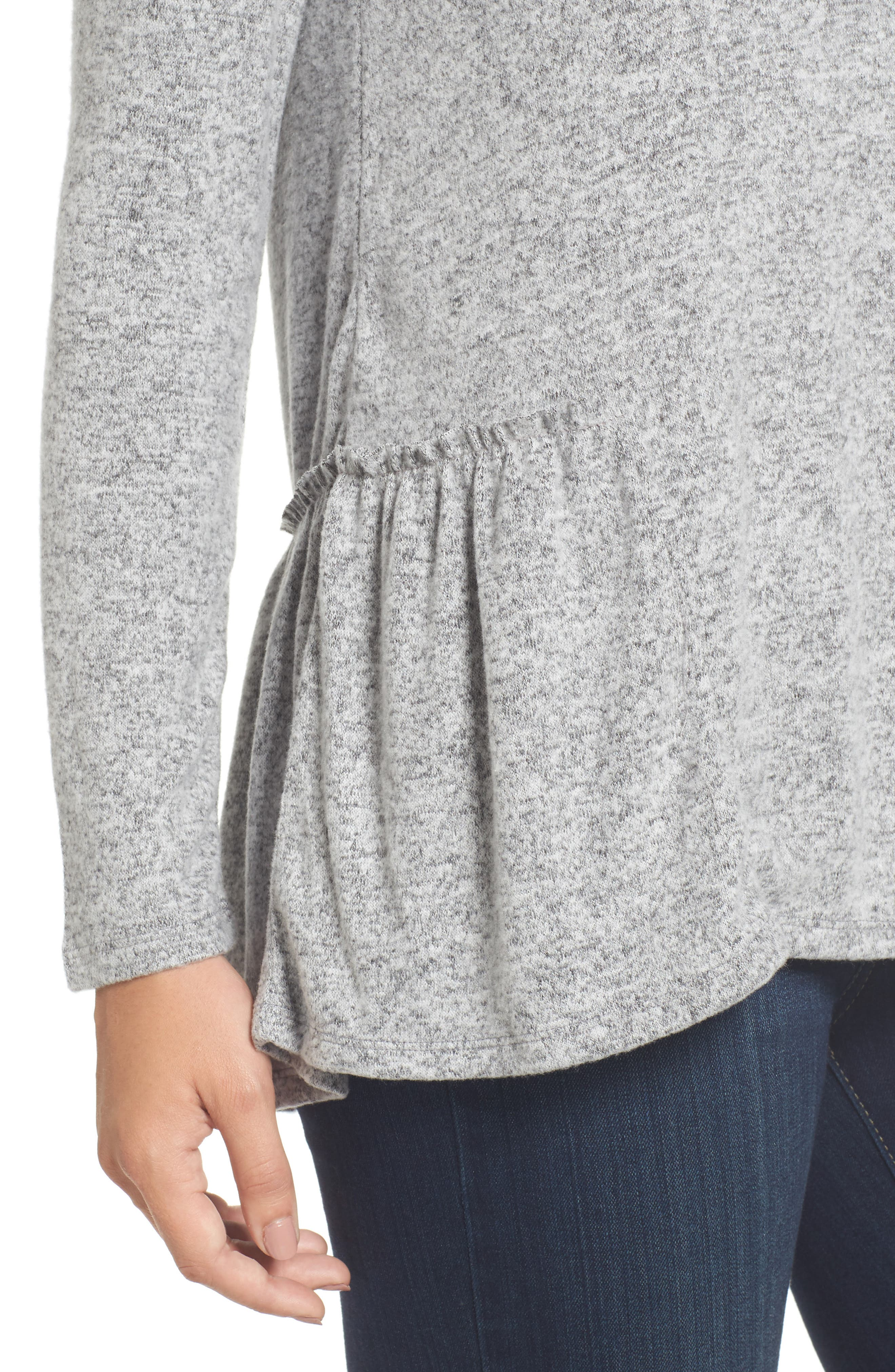 Cozy Back Peplum Top,                             Alternate thumbnail 4, color,                             Grey Heather