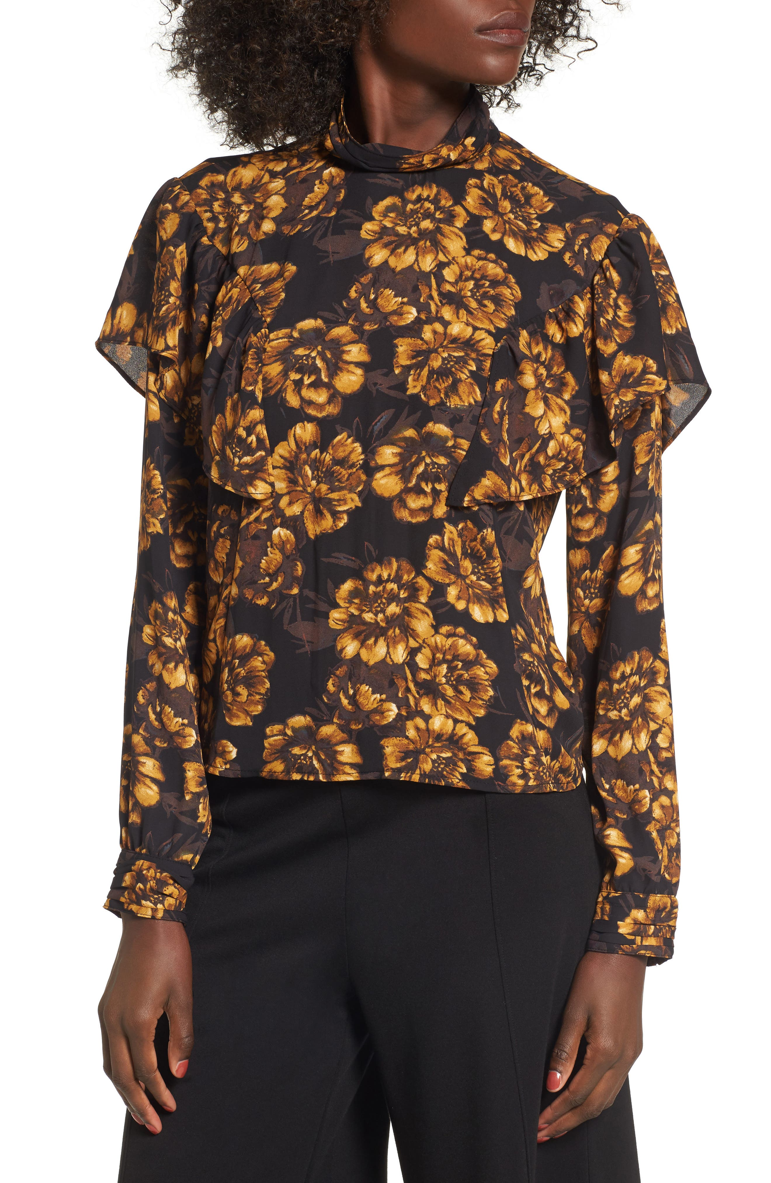 Floral Ruffle Top,                         Main,                         color, Black Small Exploded Floral