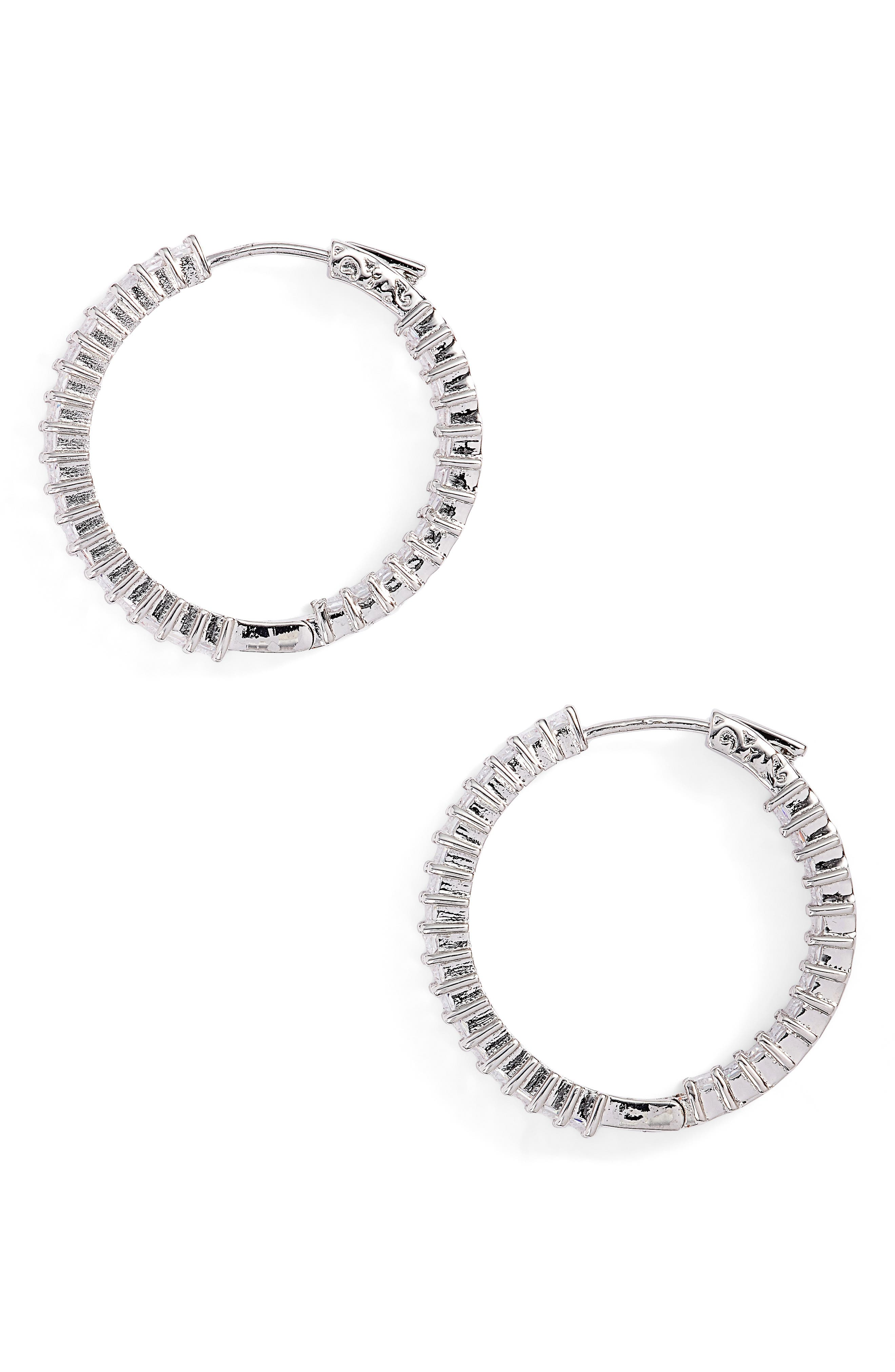 Inside Out Hoop Earrings,                         Main,                         color, Silver