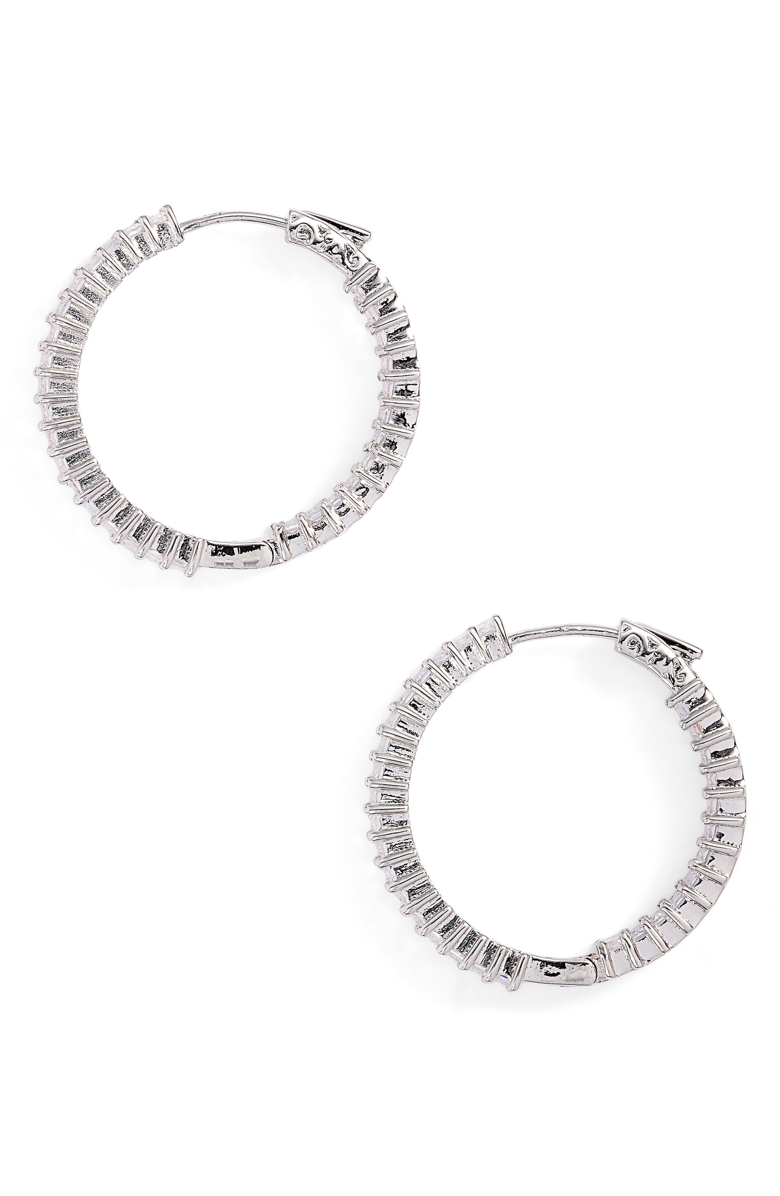 CZ by Kenneth Jay Lane Inside Out Hoop Earrings