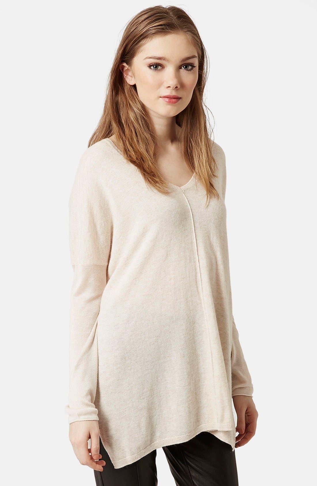 Alternate Image 1 Selected - Topshop Front Seam V-Neck Sweater