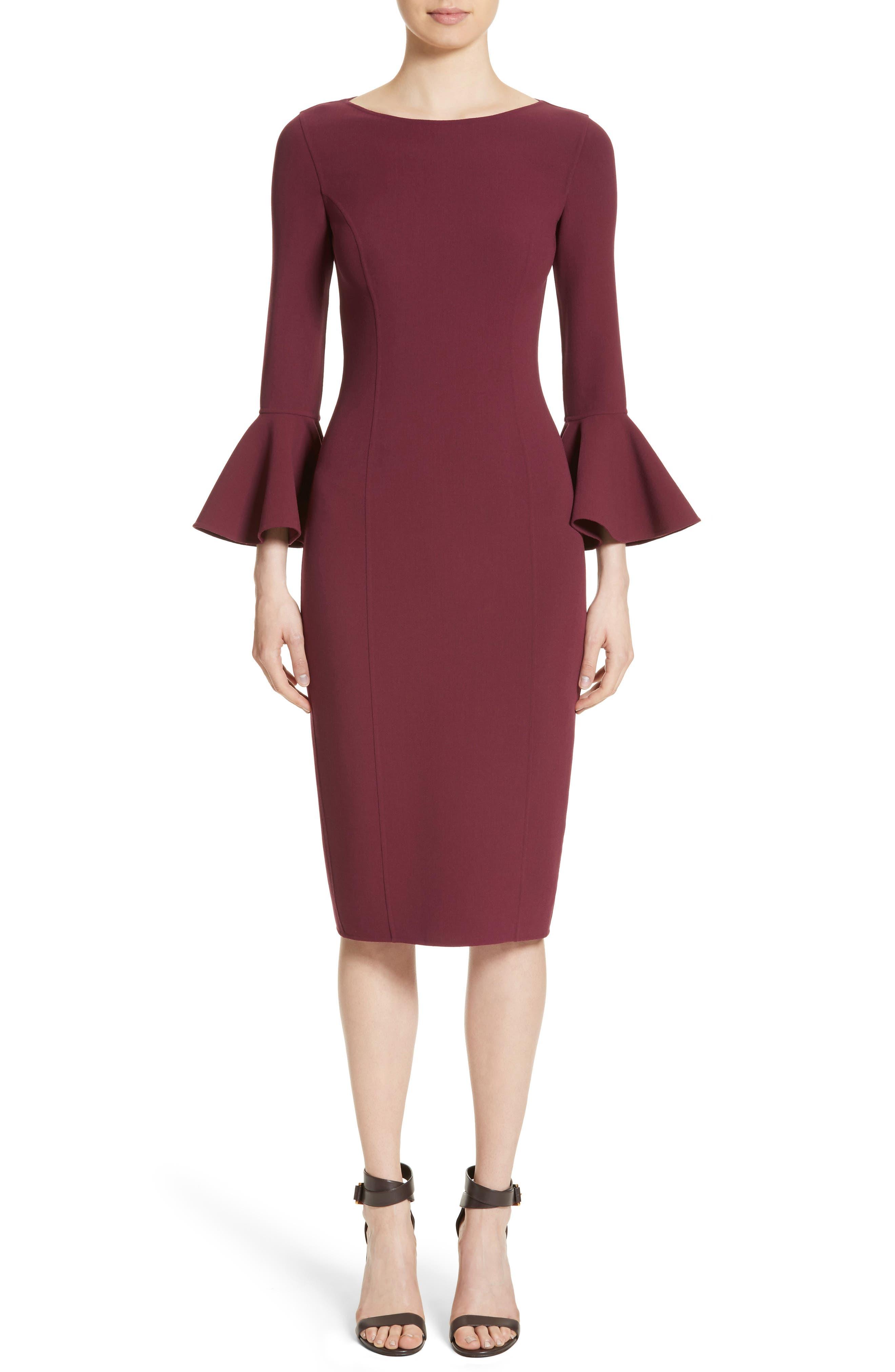 Bell Cuff Sheath Dress,                             Main thumbnail 1, color,                             Merlot