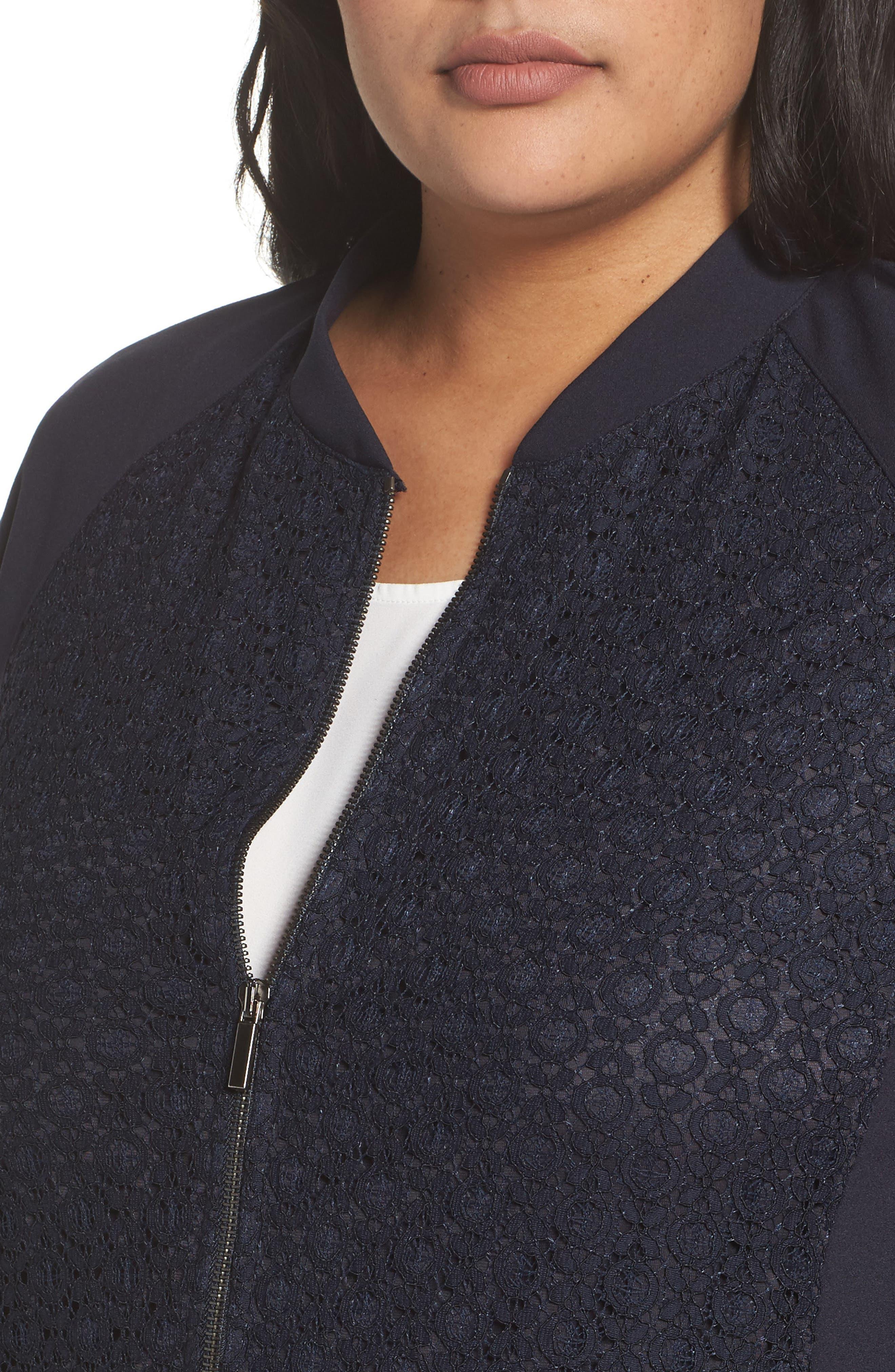 Okay Lace Panel Jacket,                             Alternate thumbnail 4, color,                             Dark Navy