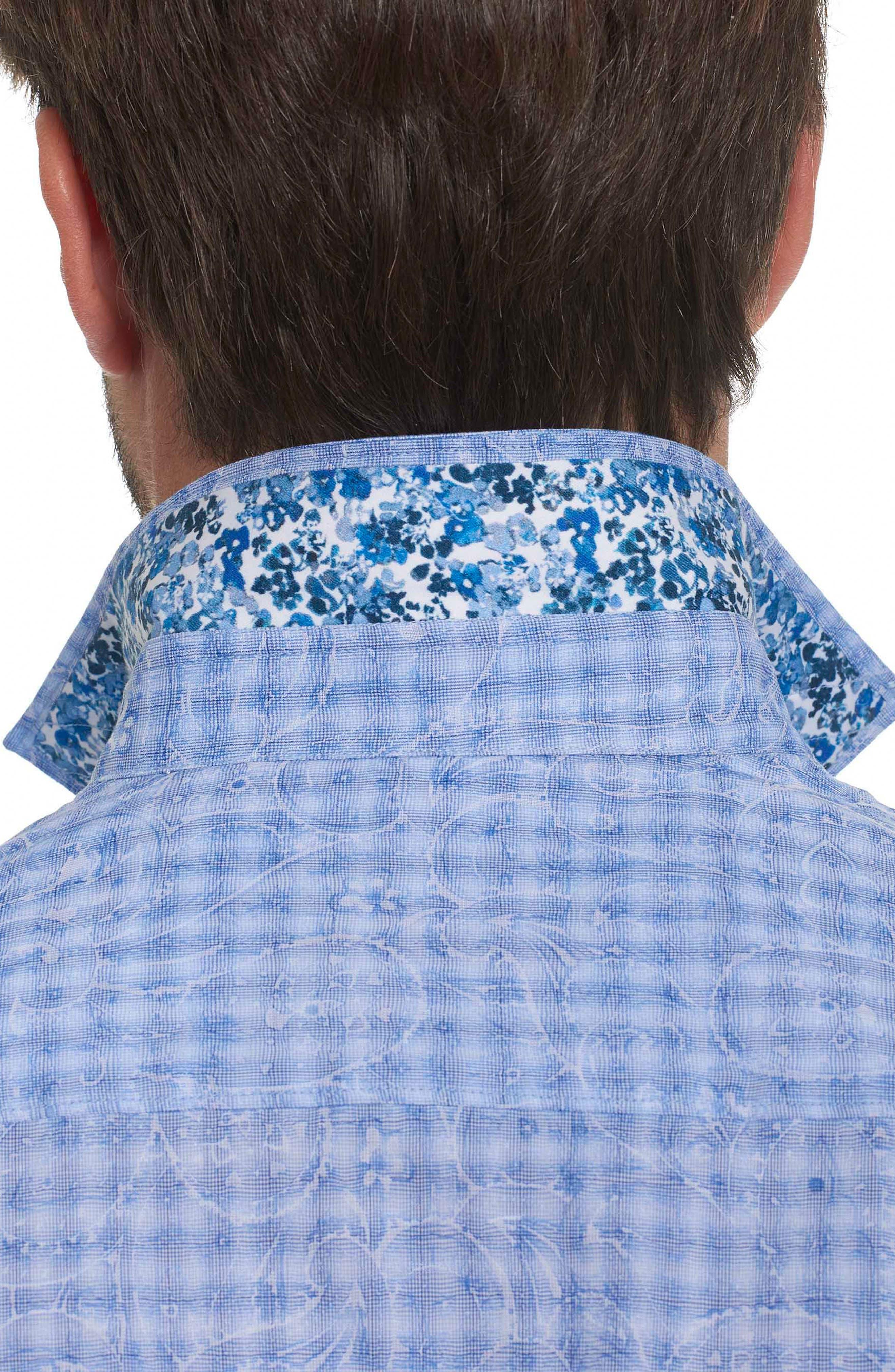 Classic Fit Print Sport Shirt,                             Alternate thumbnail 3, color,                             Blue