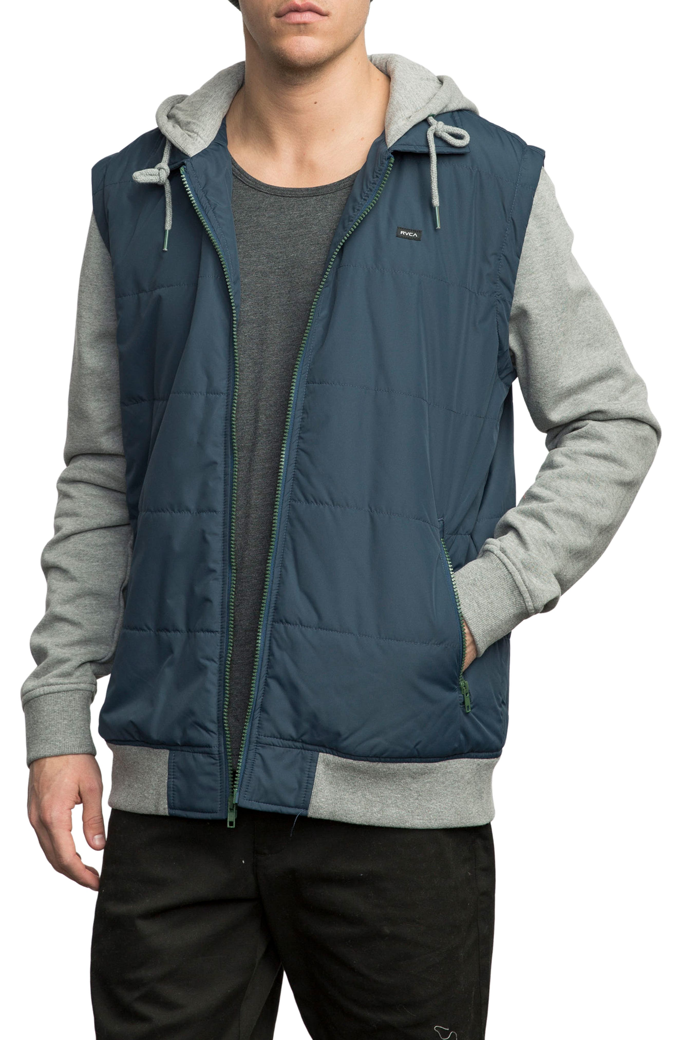 Puffer Zips Hybrid Jacket,                         Main,                         color, Blue
