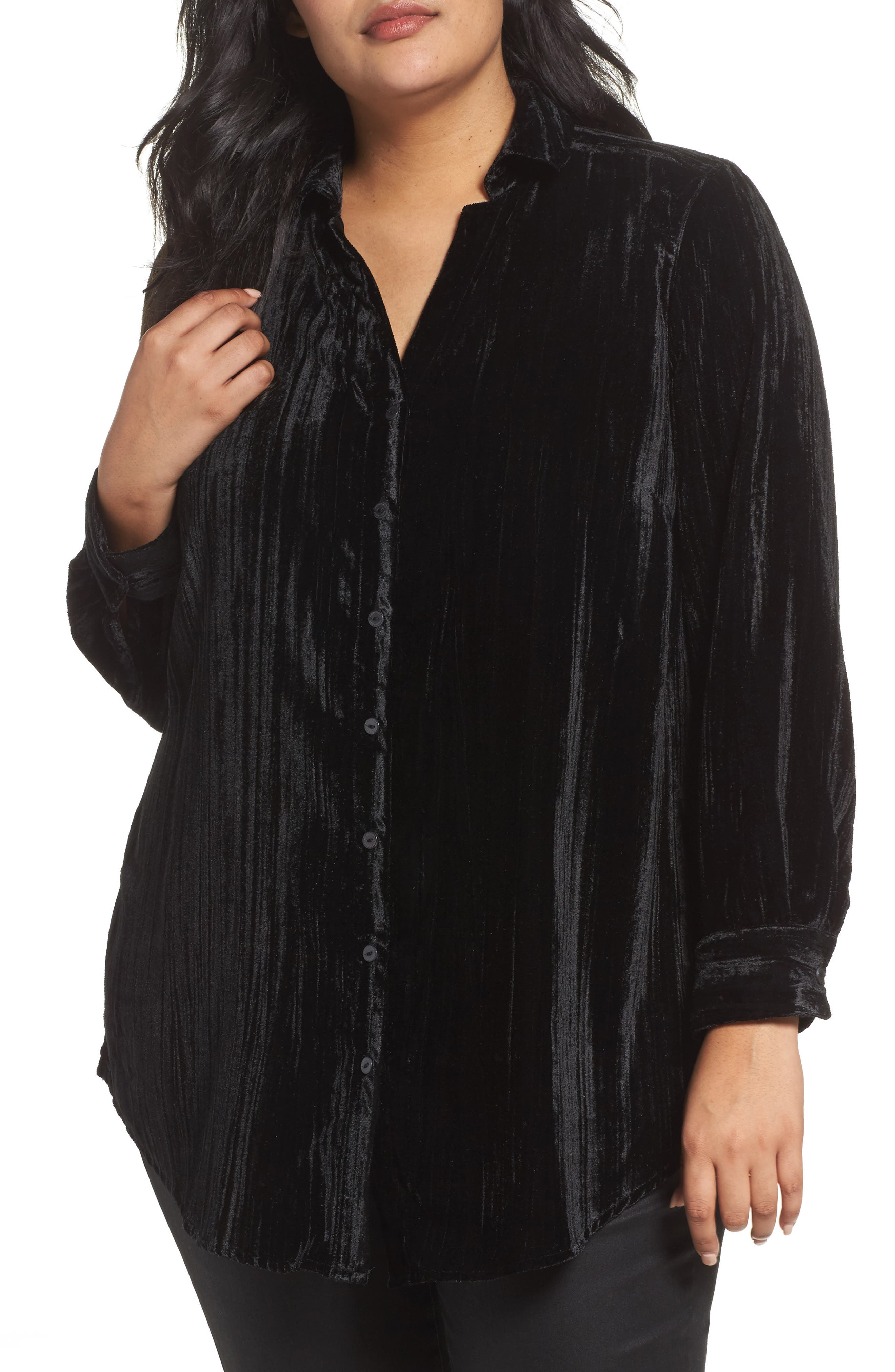 Ivy Broomstick Velvet Shirt,                             Main thumbnail 1, color,                             Black