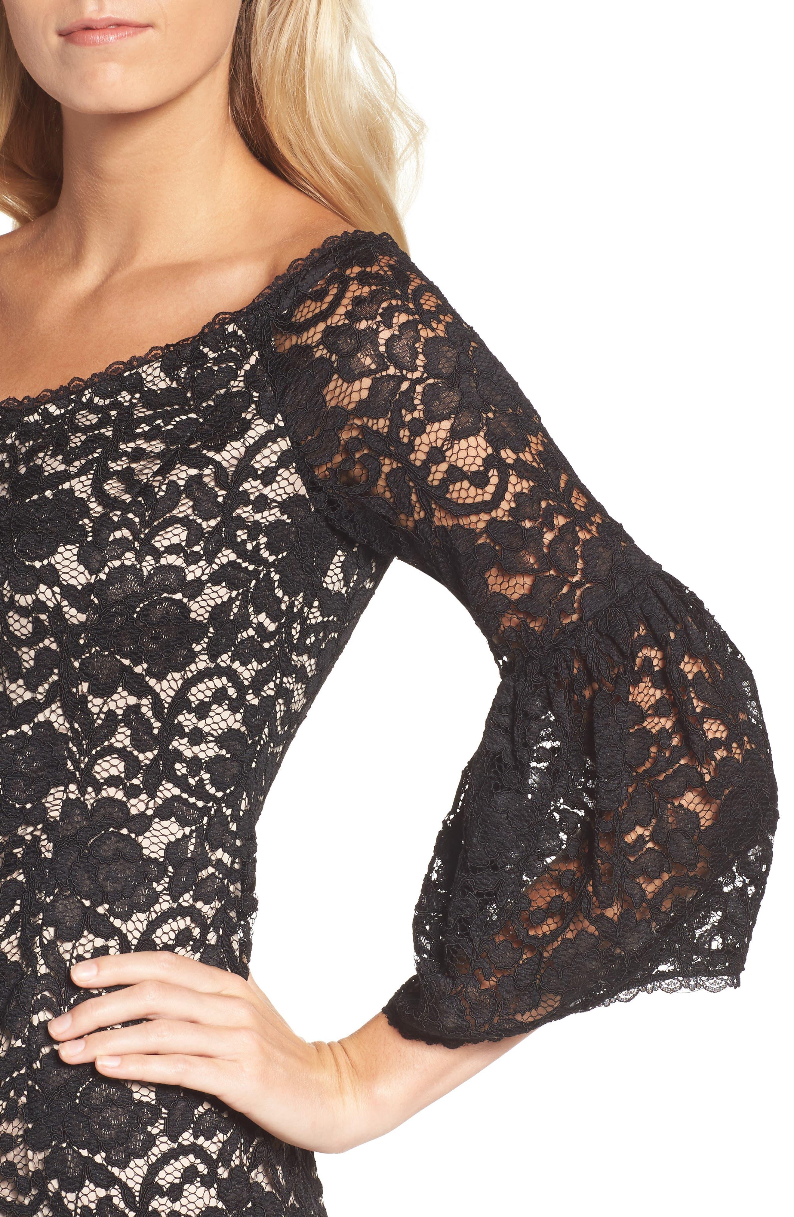 Juliet Lace Off the Shoulder Dress,                             Alternate thumbnail 4, color,                             Black/ Bisque