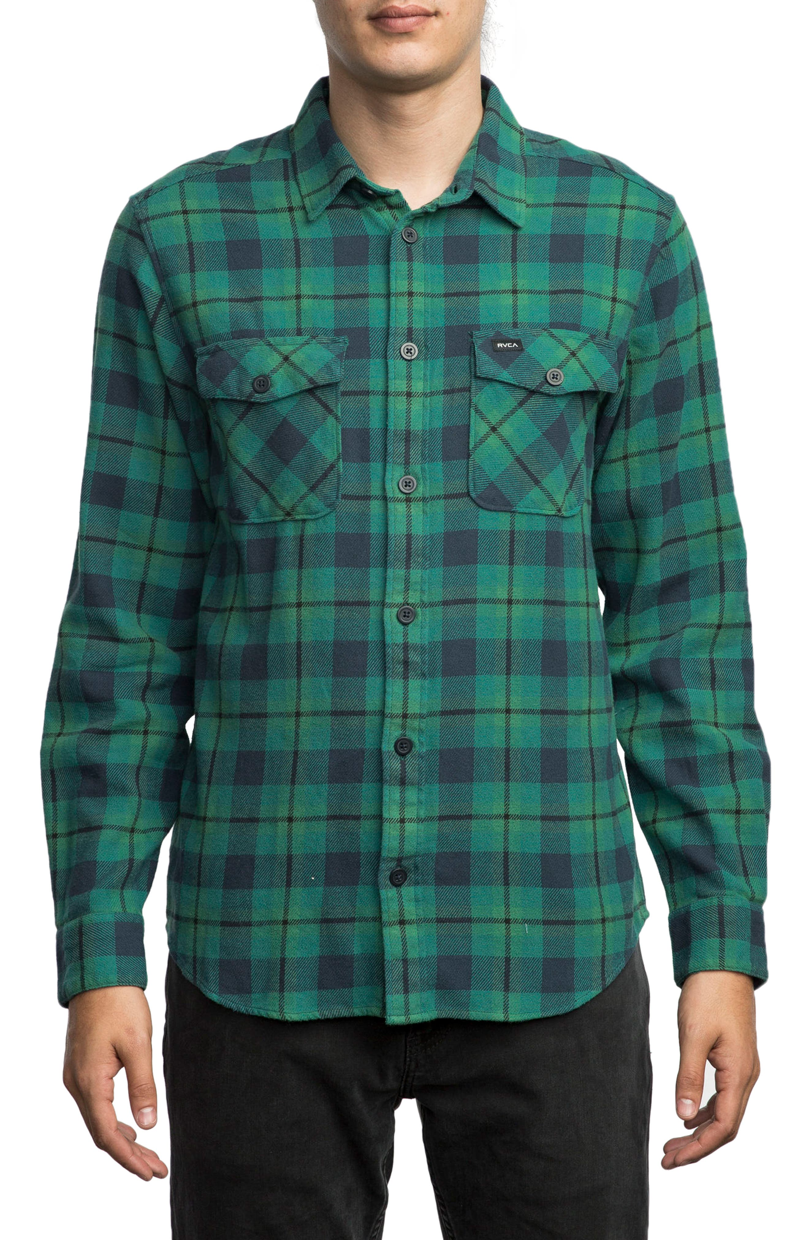 'That'll Work' Trim Fit Plaid Flannel Shirt,                         Main,                         color, Teal Green