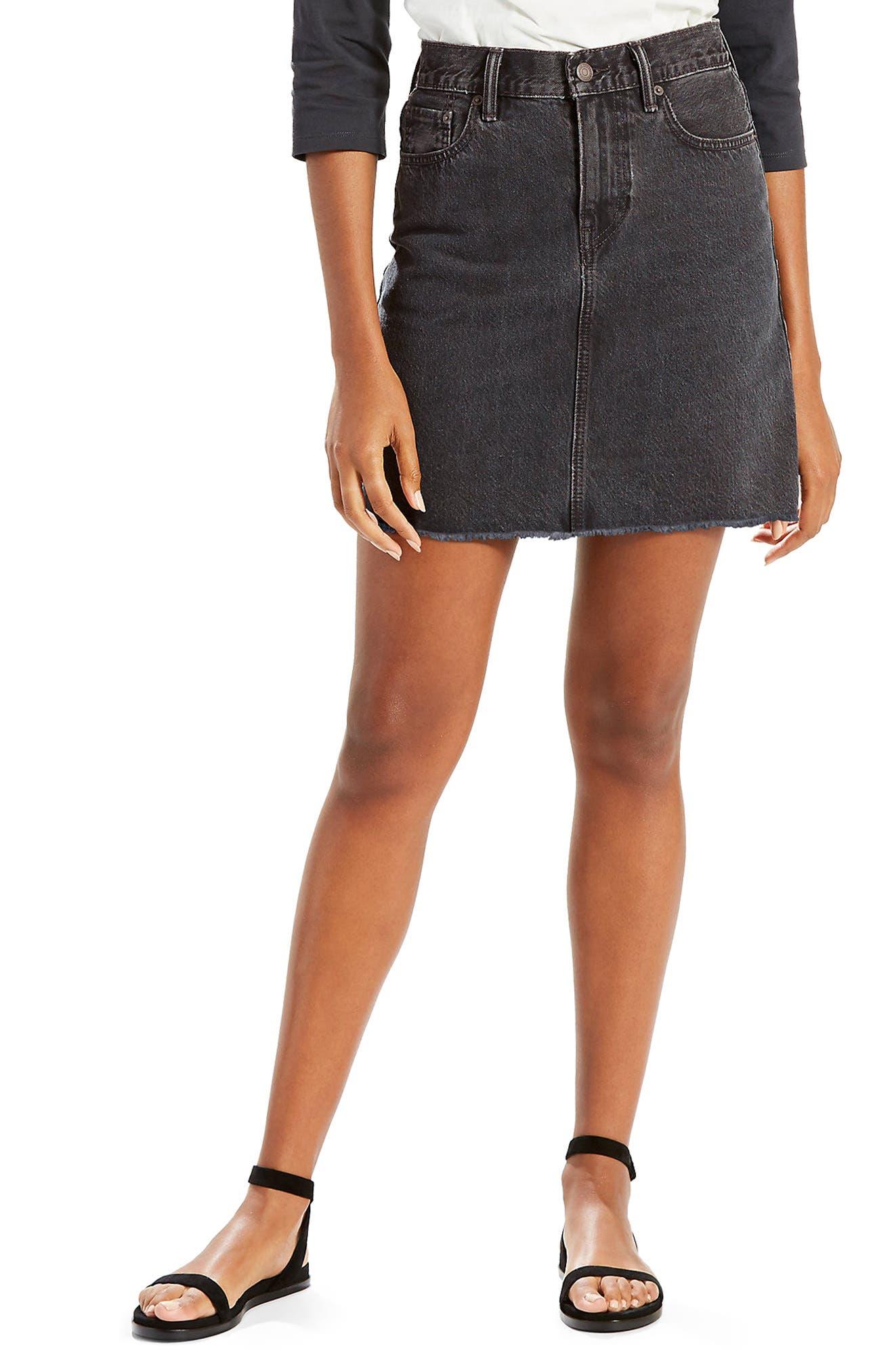 Everyday Denim Skirt,                             Main thumbnail 1, color,                             Mixed Tape Washed Black Denim