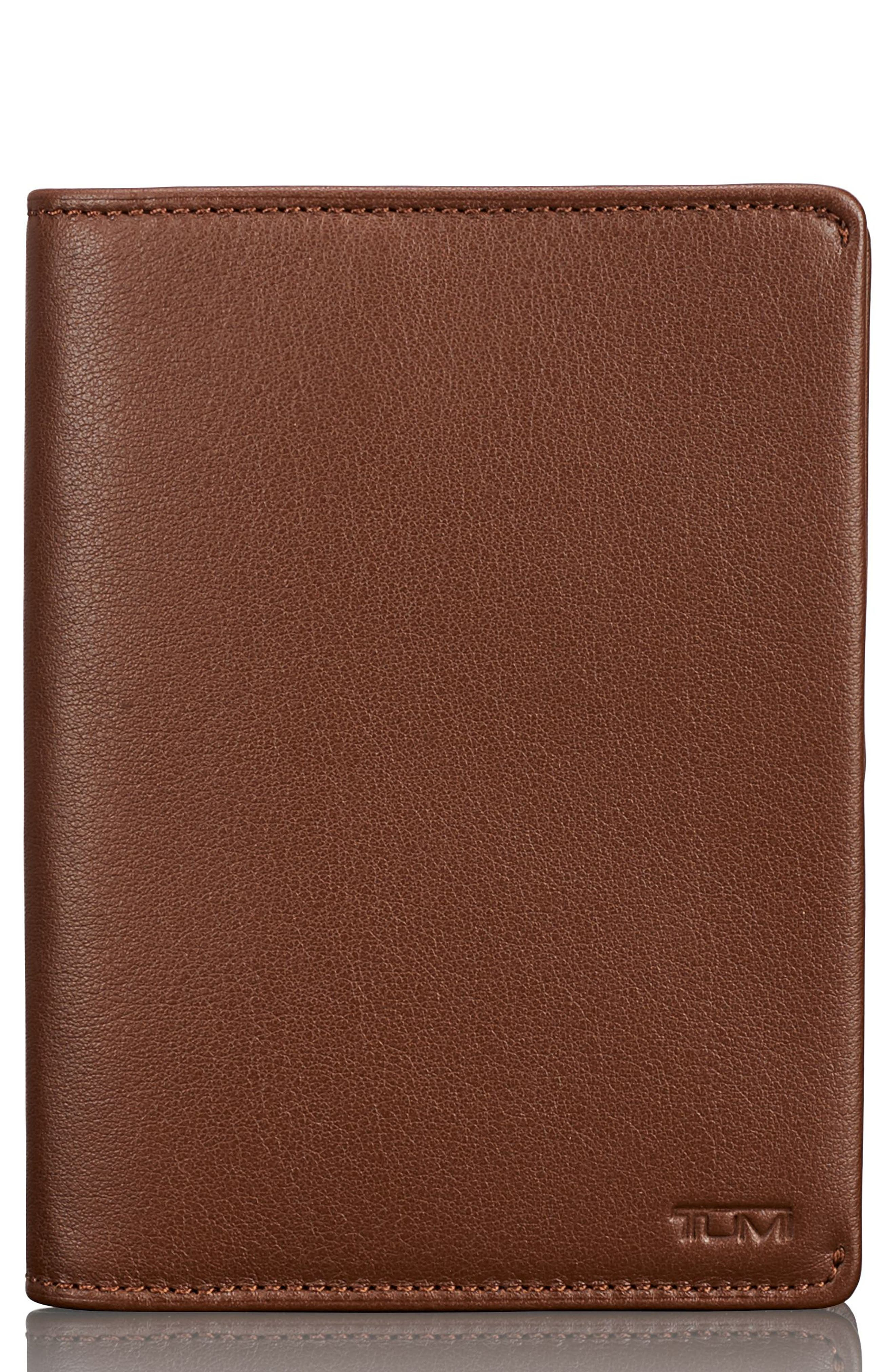 Leather Passport Cover,                             Main thumbnail 1, color,                             Brown Textured