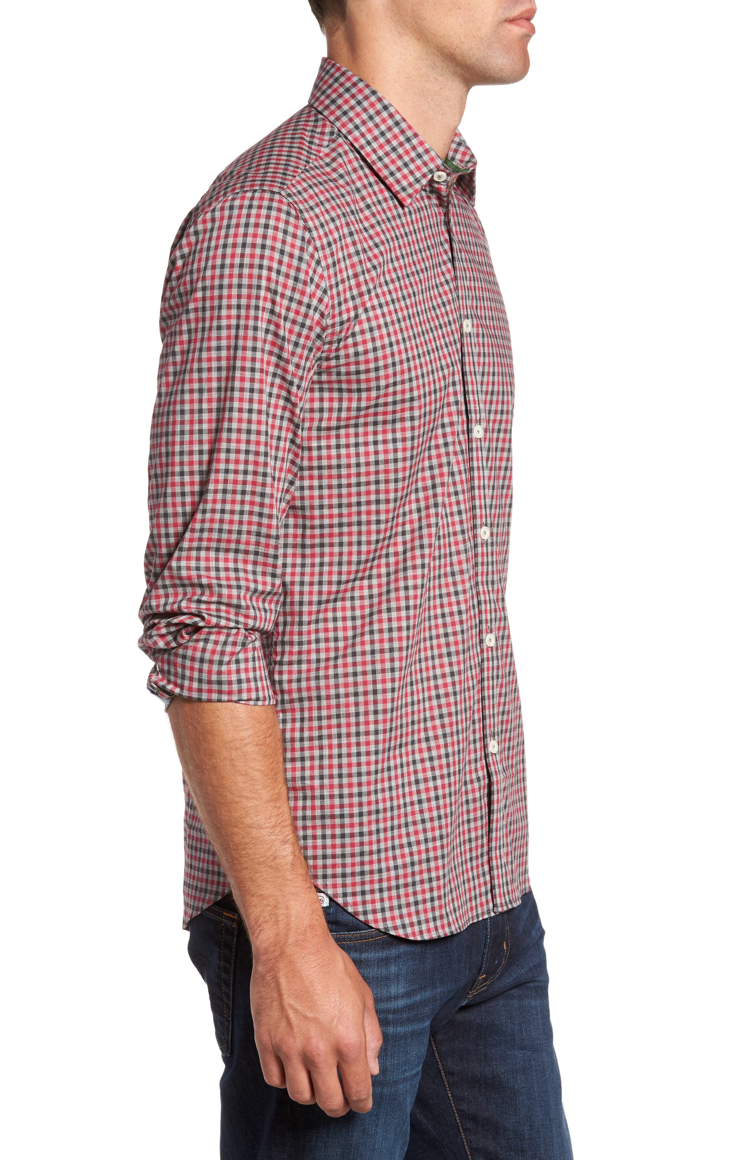 Slim Fit Check Sport Shirt,                             Alternate thumbnail 3, color,                             Medium Red