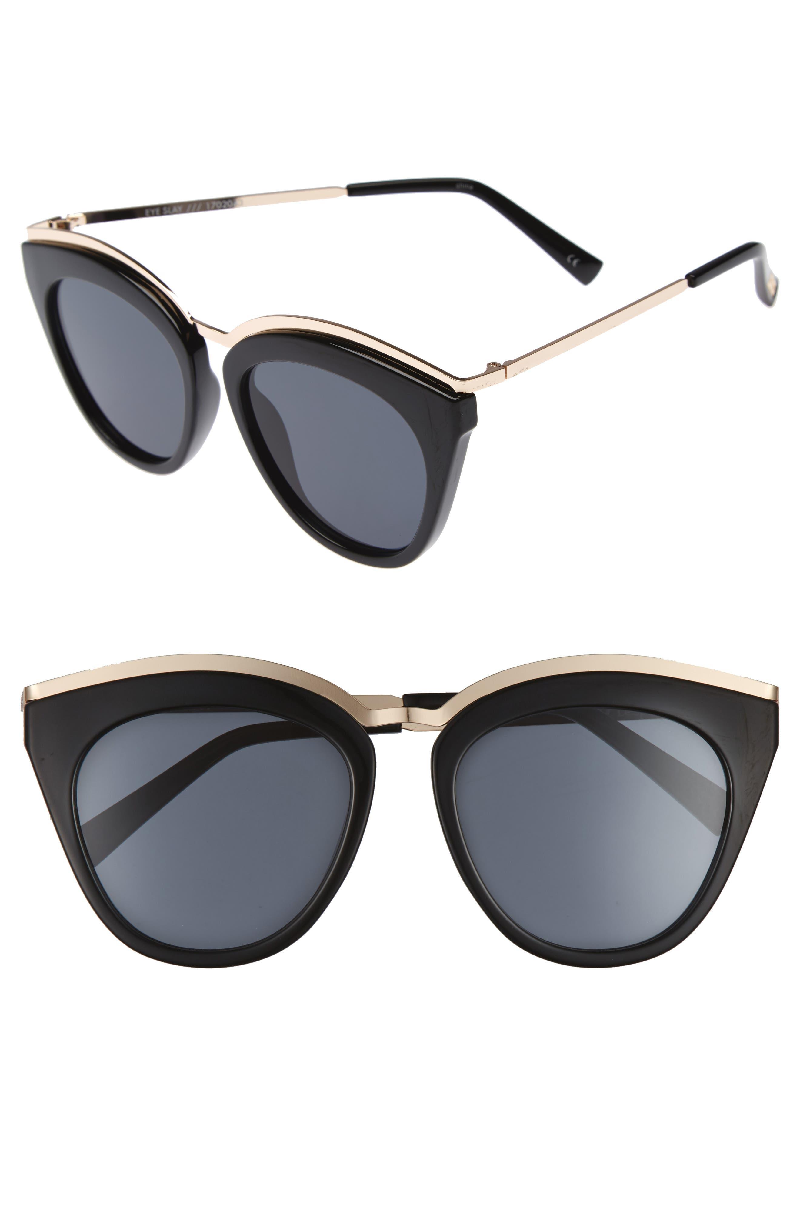 Eye Slay 52mm Cat Eye Sunglasses,                             Main thumbnail 1, color,                             Black