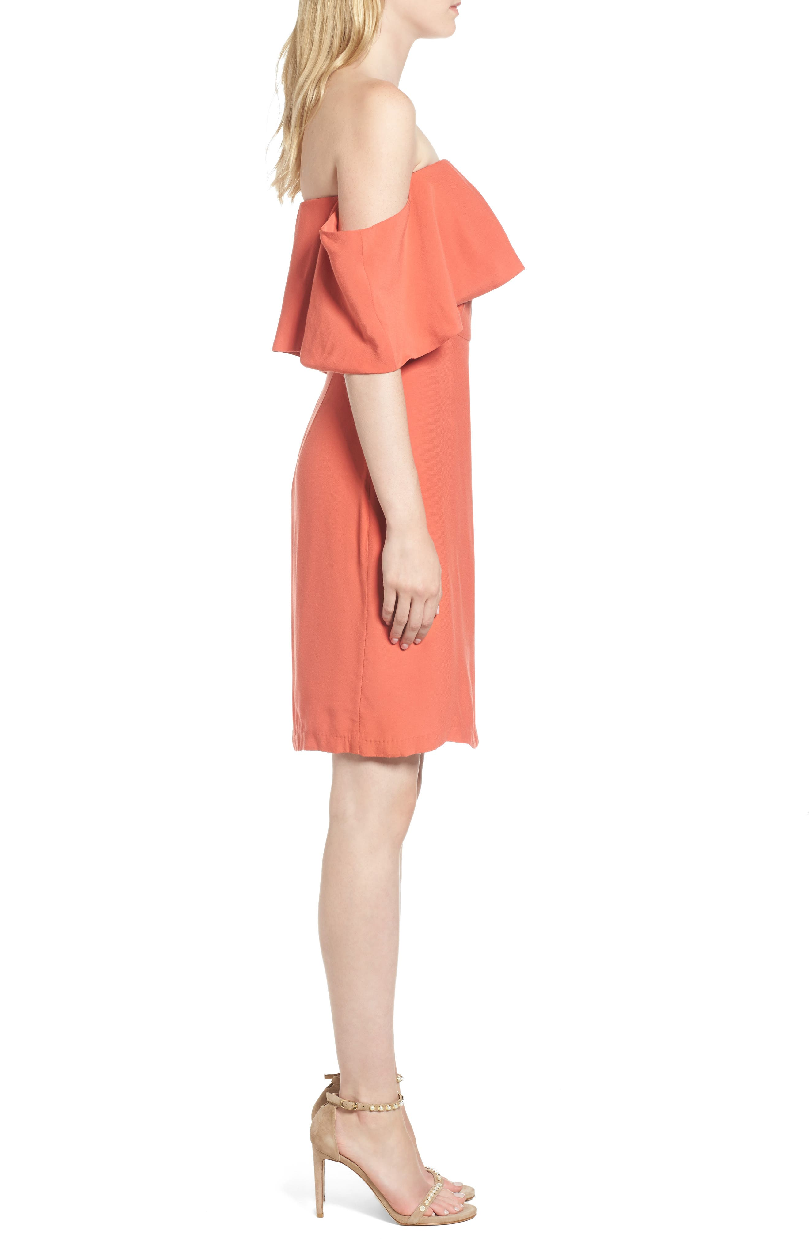 Rudy Off the Shoulder Shift Dress,                             Alternate thumbnail 3, color,                             Persimmon Red