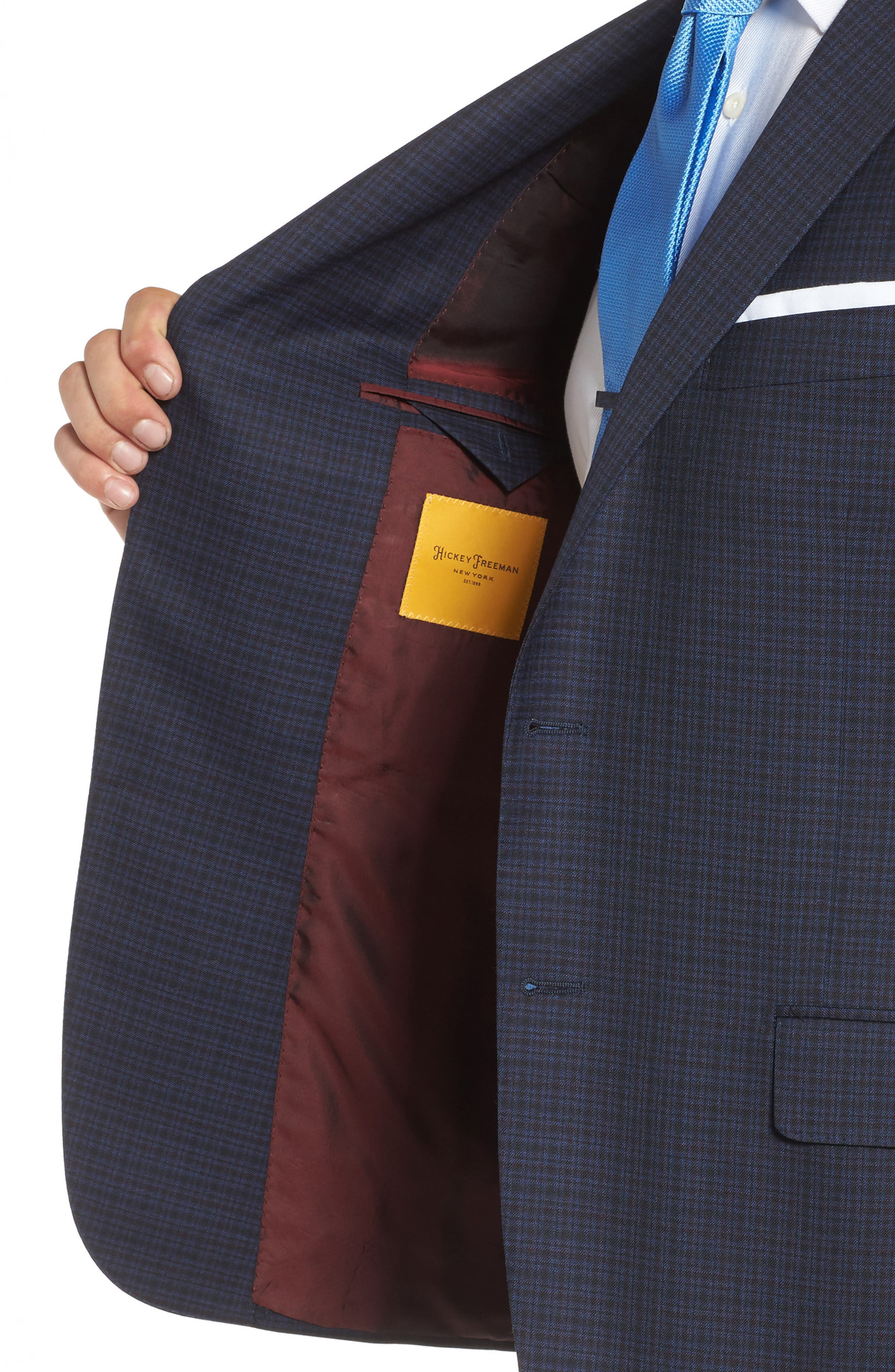 Classic B Fit Check Wool Sport Coat,                             Alternate thumbnail 4, color,                             Navy