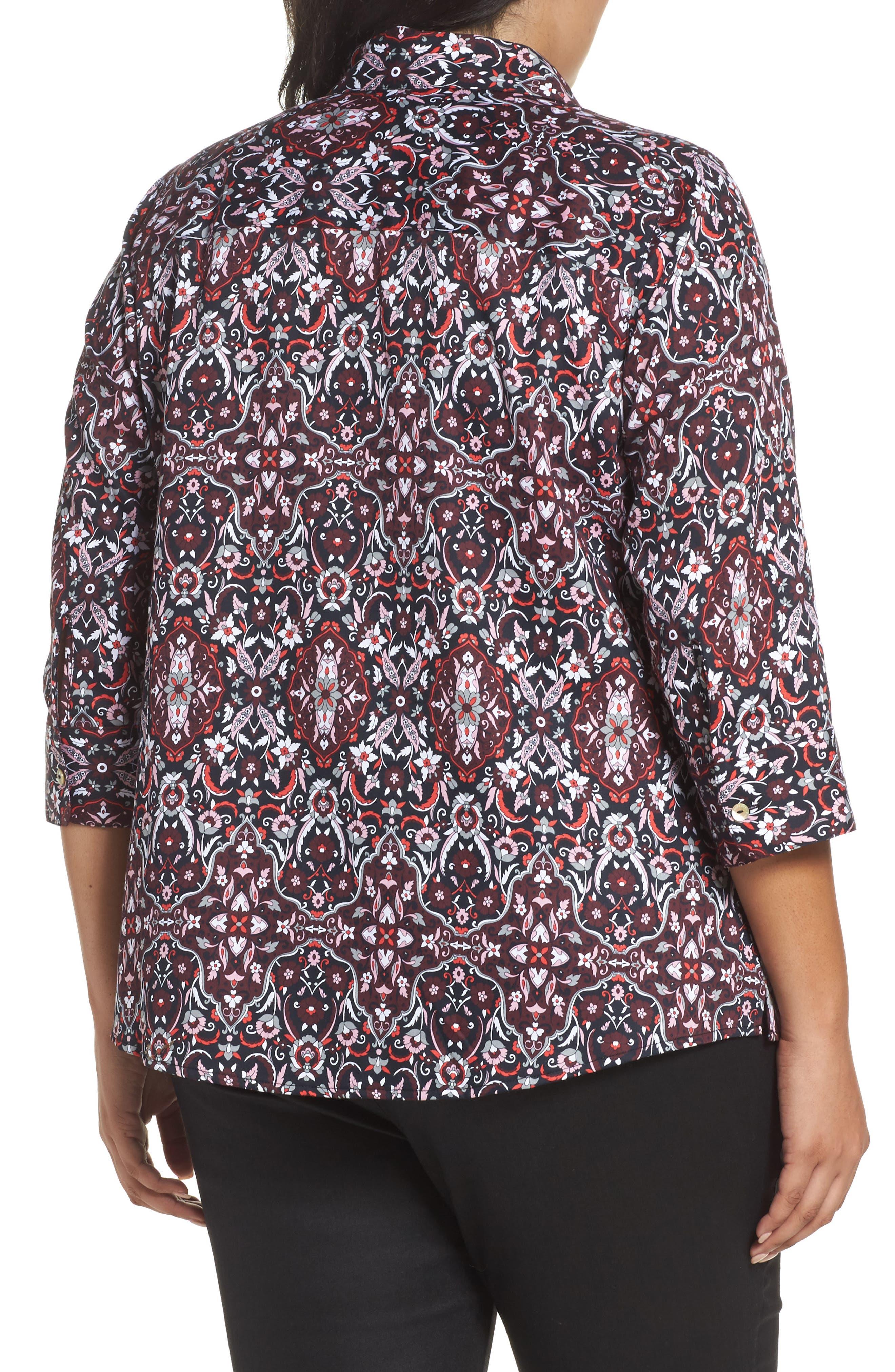 Ava Heirloom Paisley Print Cotton Shirt,                             Alternate thumbnail 2, color,                             Multi