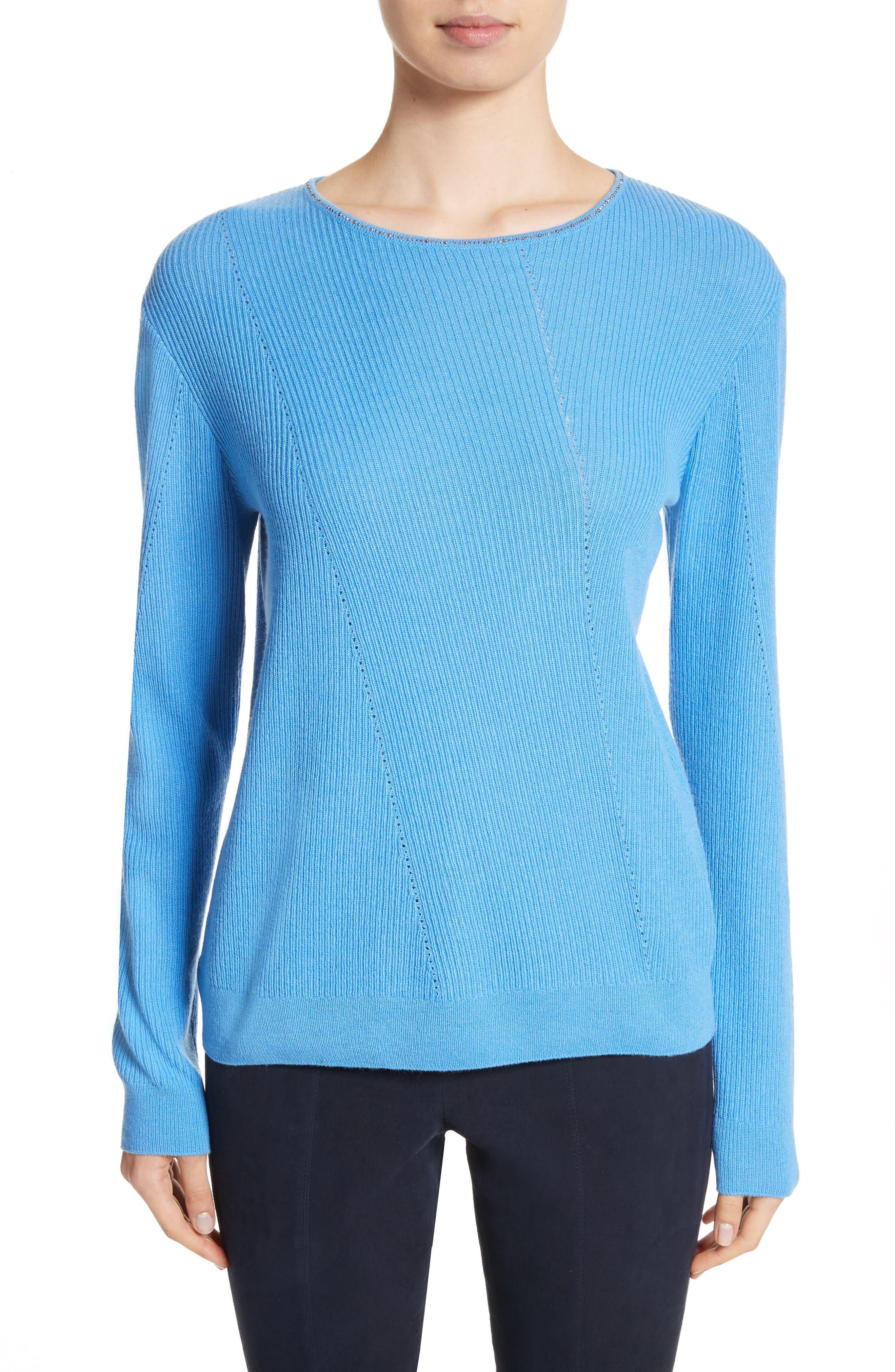 Cashmere Sweater,                         Main,                         color, Bright Niagara