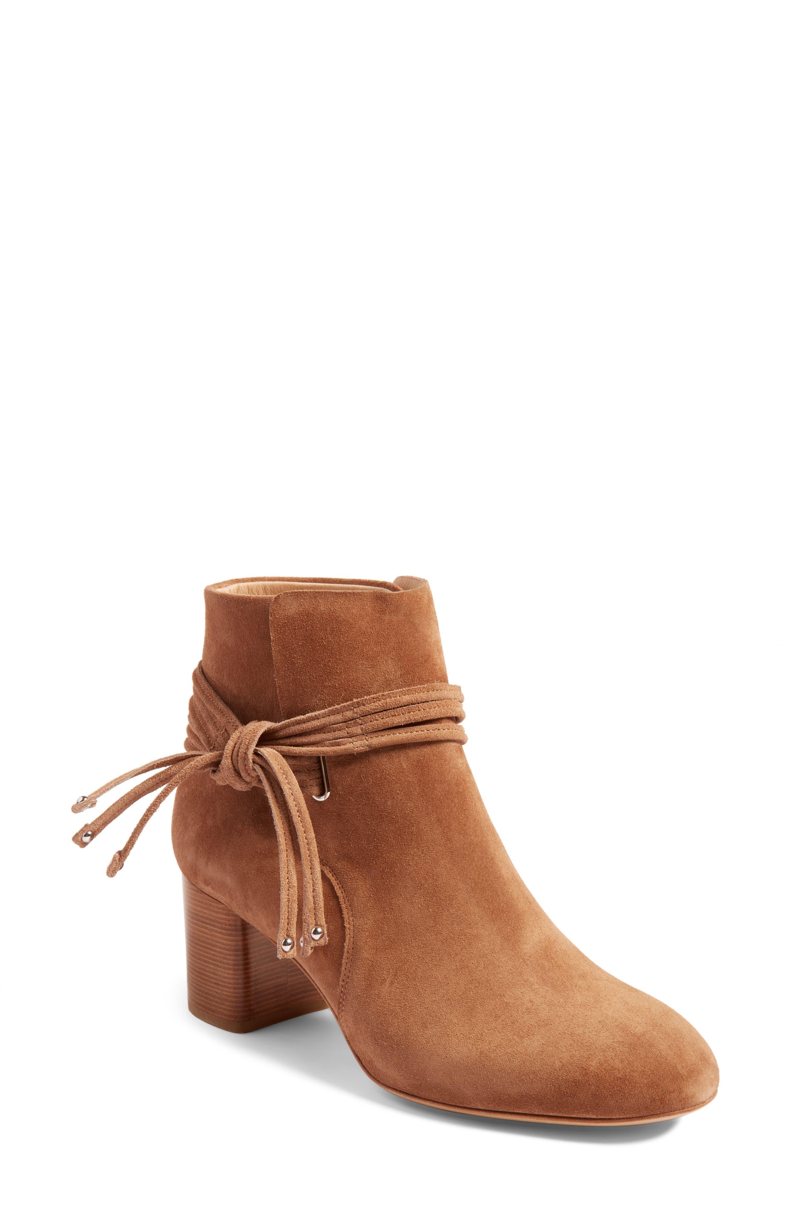 Dalia II Tie-Strap Bootie,                         Main,                         color, Camel Suede