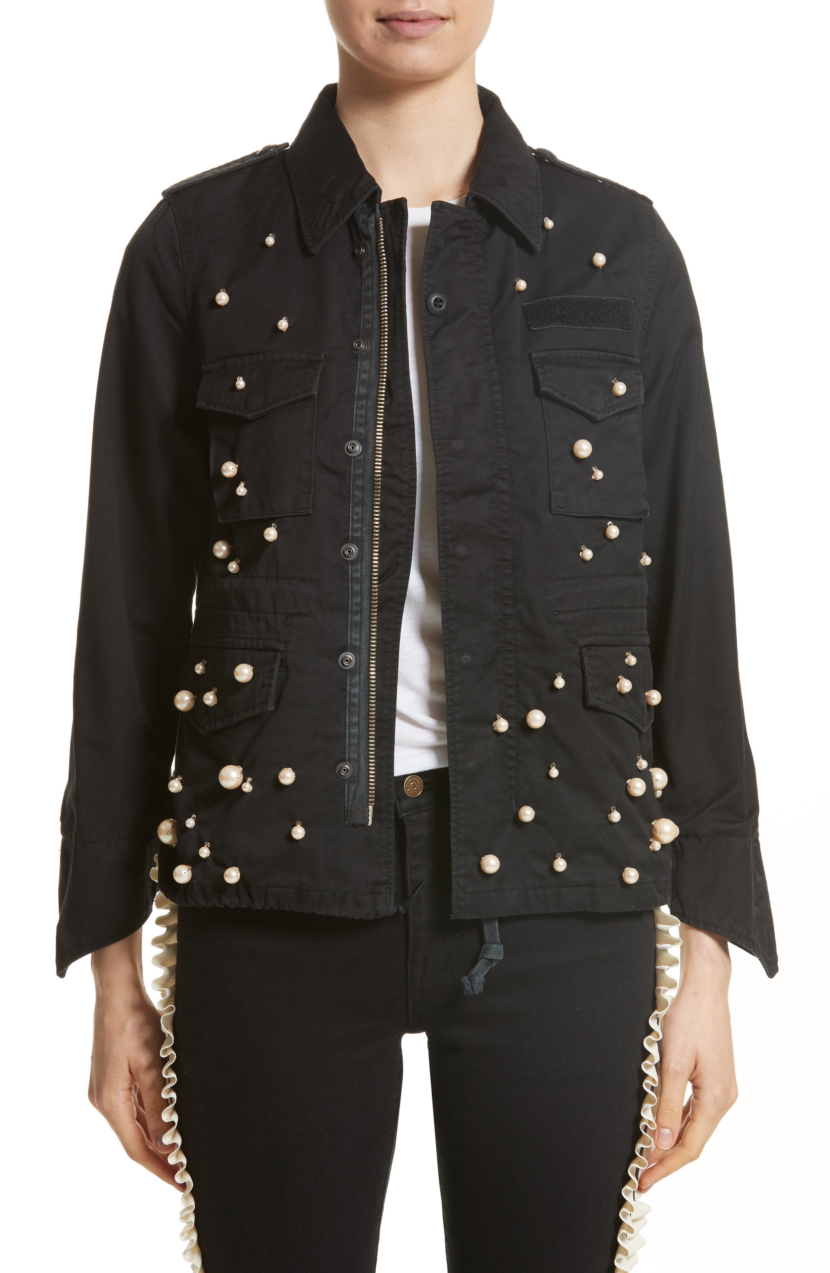 Snow Imitation Pearl Embellished Field Jacket,                             Main thumbnail 1, color,                             Black