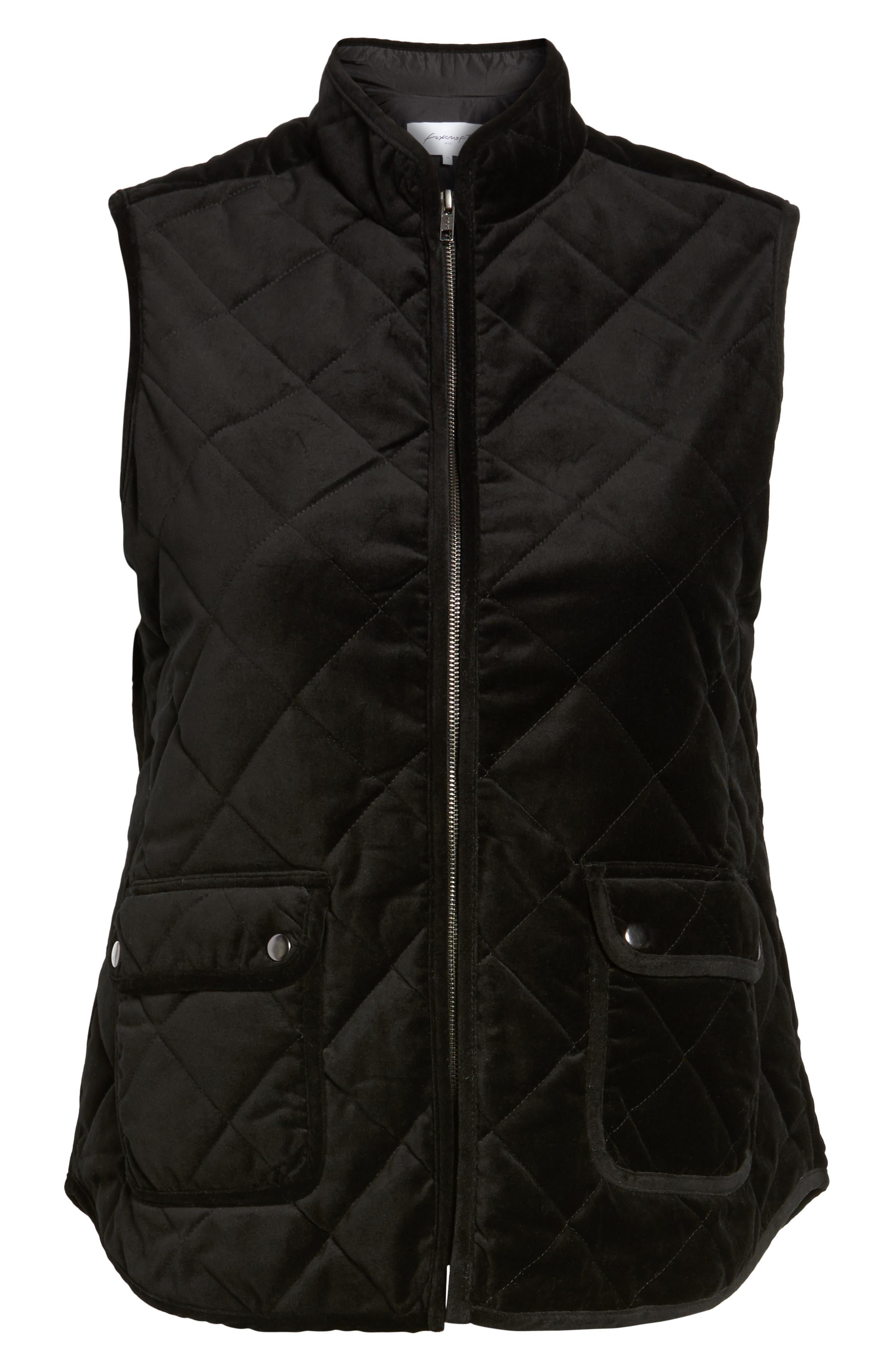 Lena Quilted Velvet Vest,                             Alternate thumbnail 6, color,                             Black