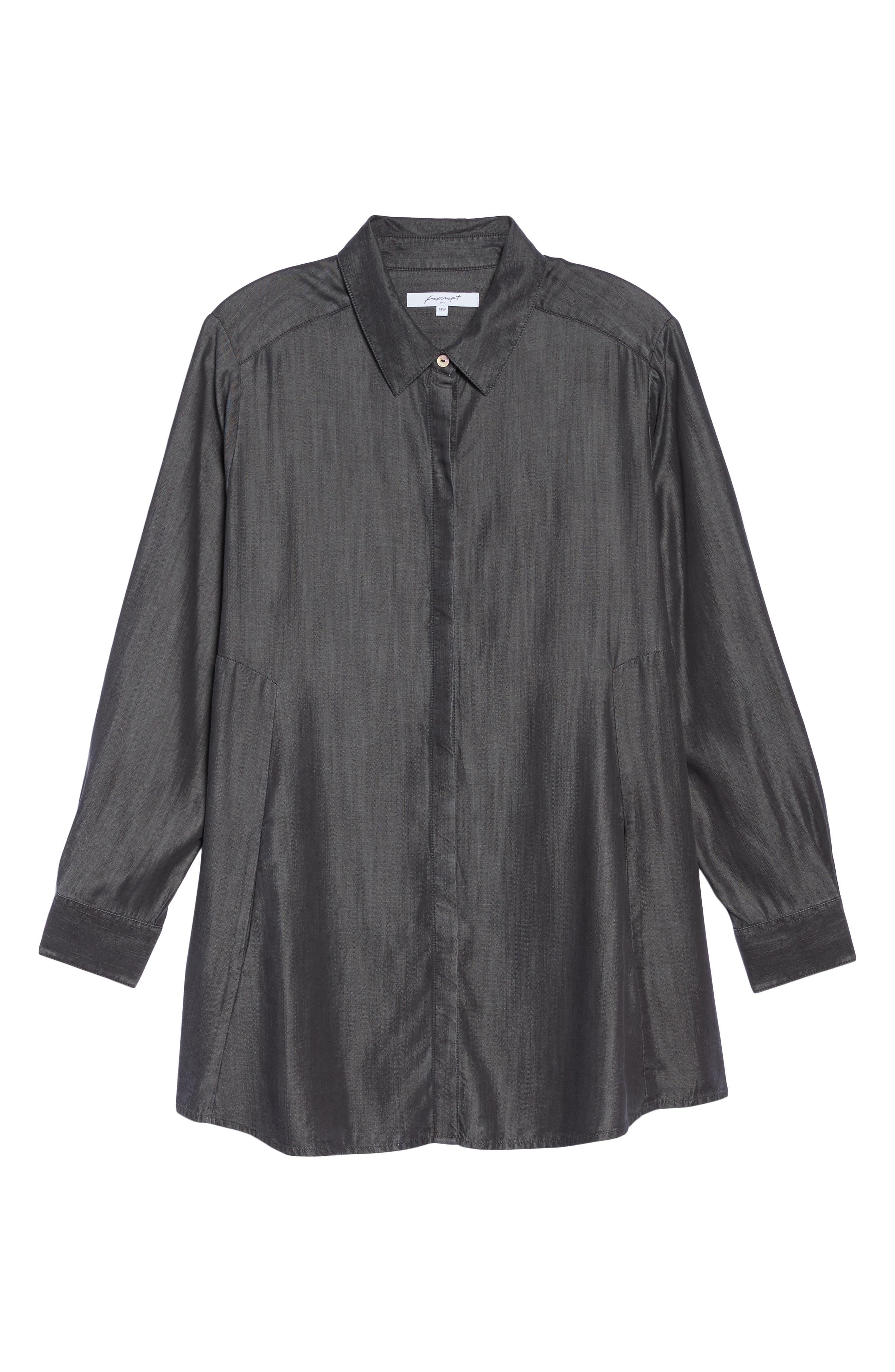 Alternate Image 6  - Foxcroft Chambray Tunic (Plus Size)