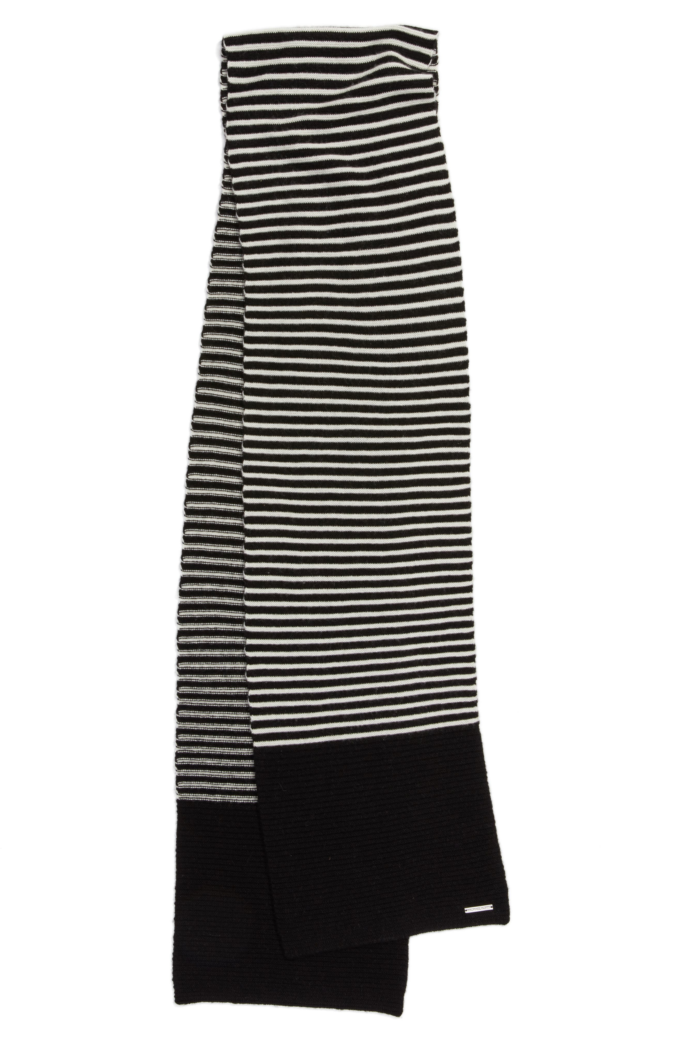 Double Links Wool & Cashmere Scarf,                             Alternate thumbnail 2, color,                             Black/ Cream