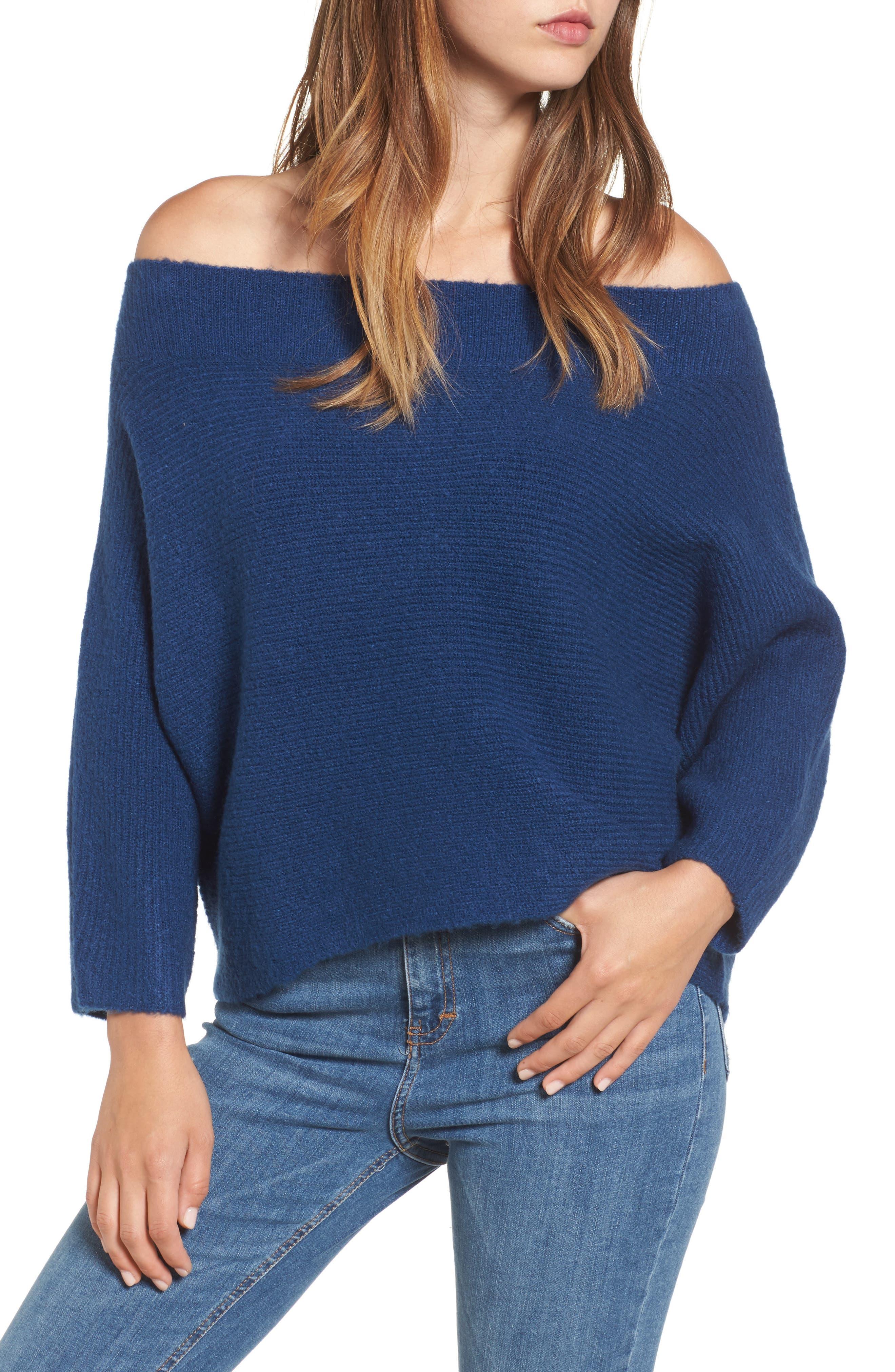 Dolman Sleeve Sweater,                             Main thumbnail 1, color,                             Blue Estate
