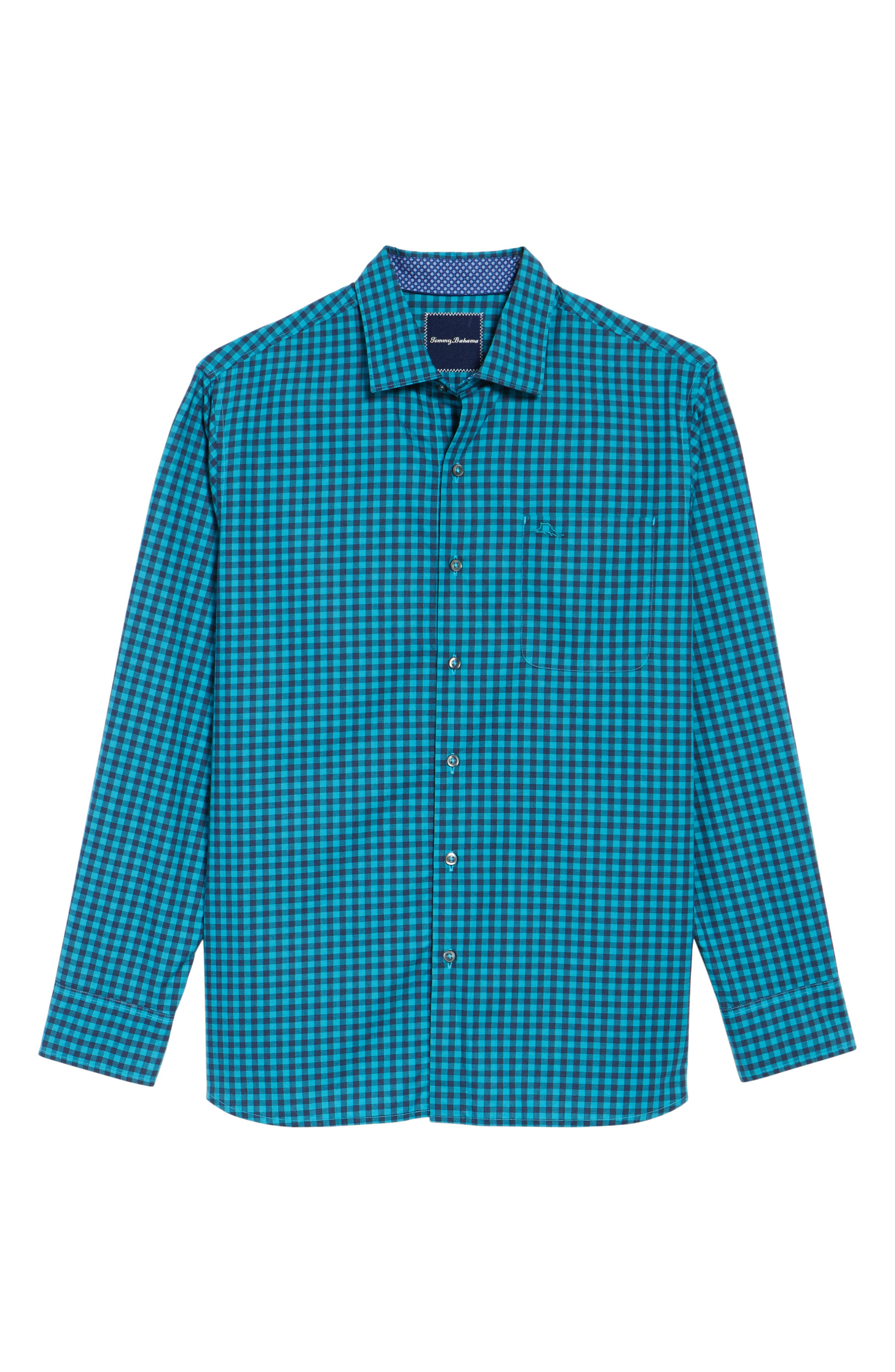 Mazagan Check Sport Shirt,                             Alternate thumbnail 6, color,                             Riviera Azure