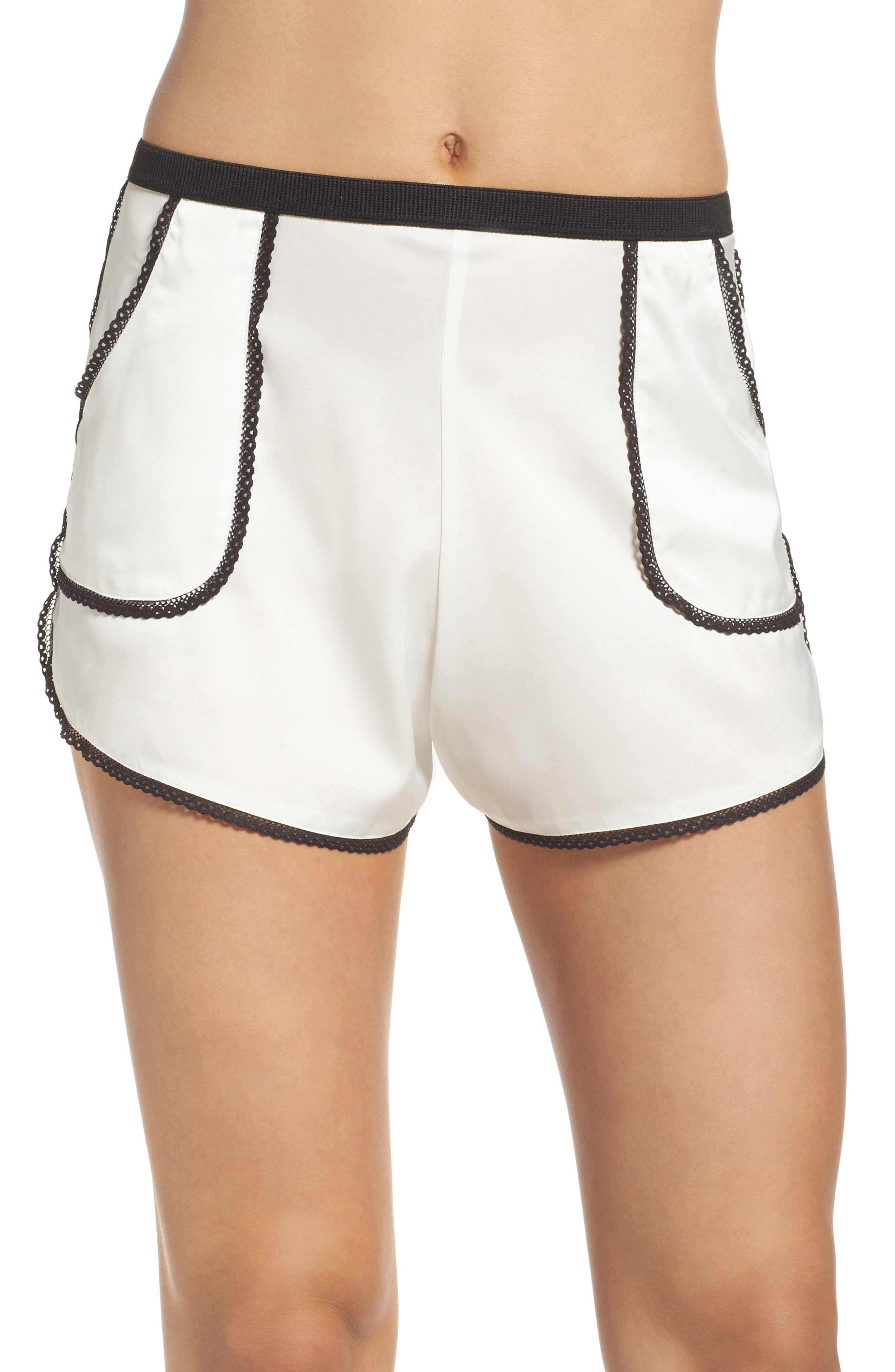 Thistle & Spire Devoe Satin Pajama Shorts,                         Main,                         color, Ivory