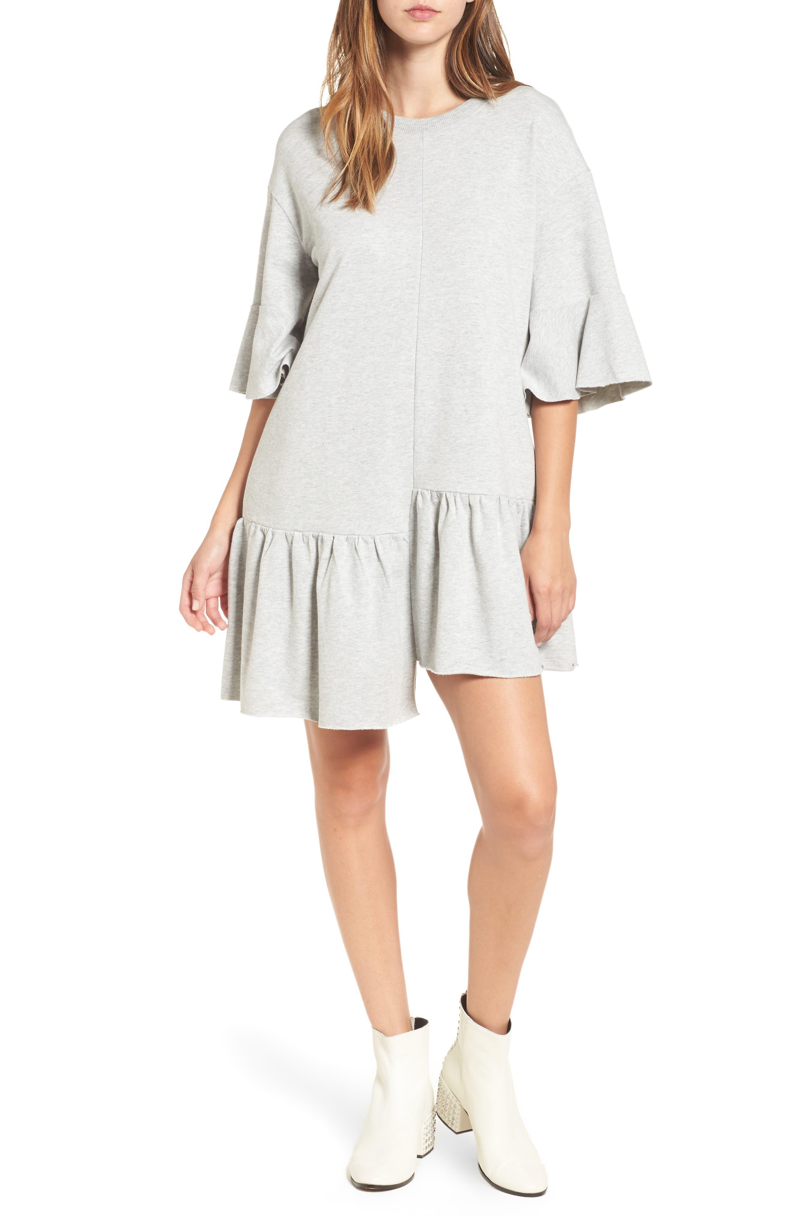 BP. Asymmetrical Flounce Hem Sweatshirt Dress