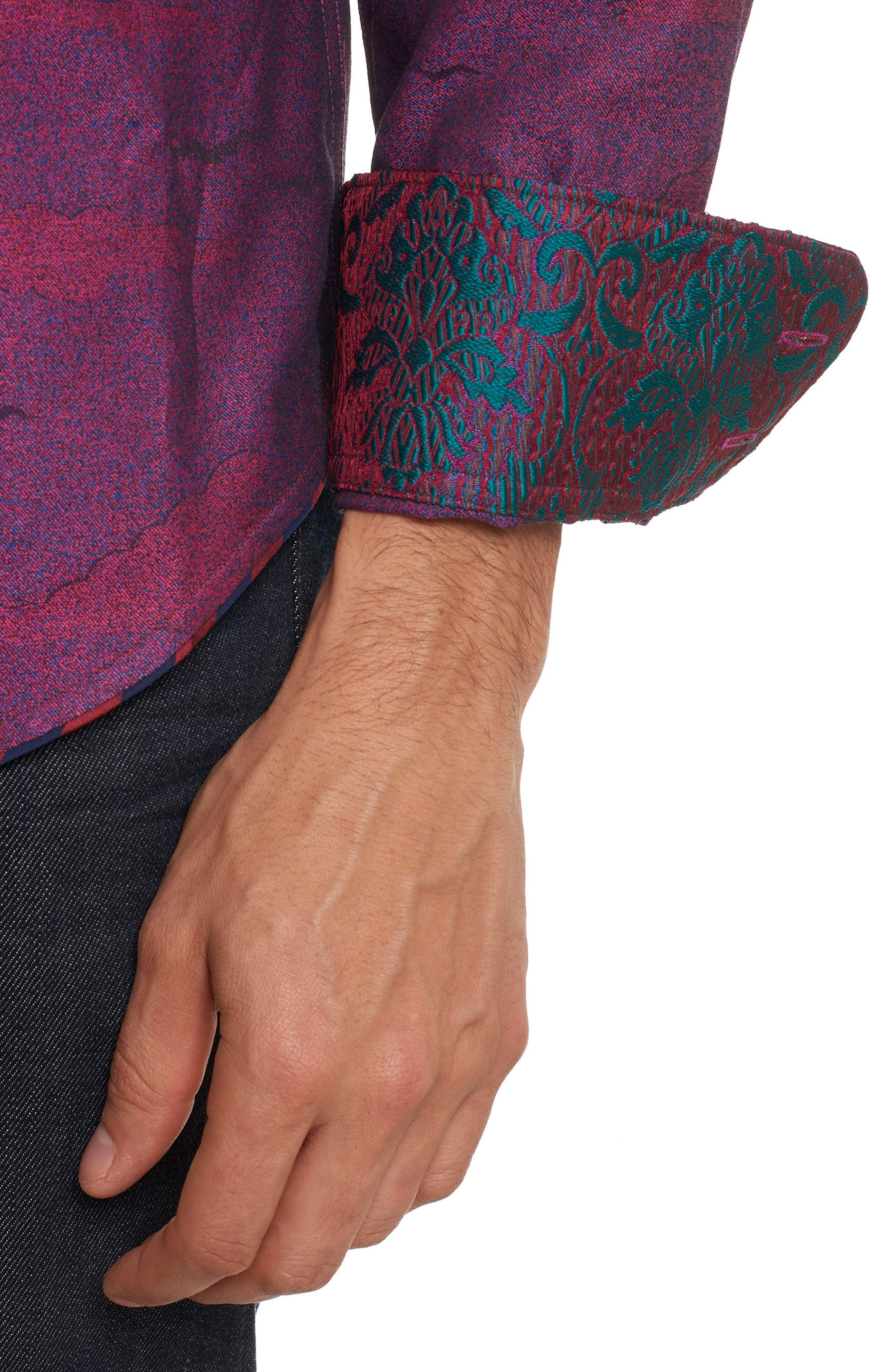 Drakon Limited Edition Classic Fit Sport Shirt,                             Alternate thumbnail 5, color,                             Merlot