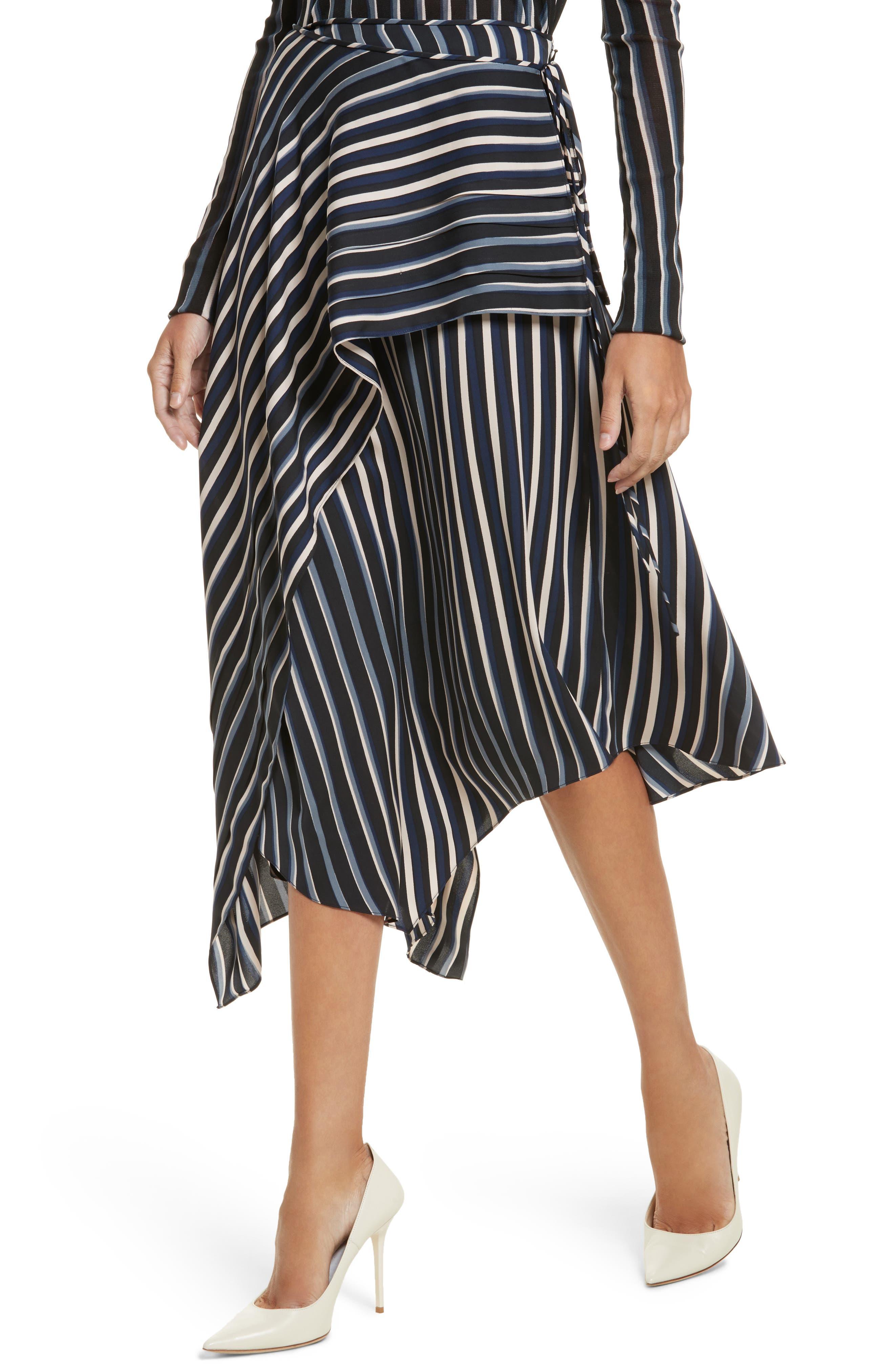 Striped Asymmetrical Midi Skirt,                             Alternate thumbnail 4, color,                             Whiston Black