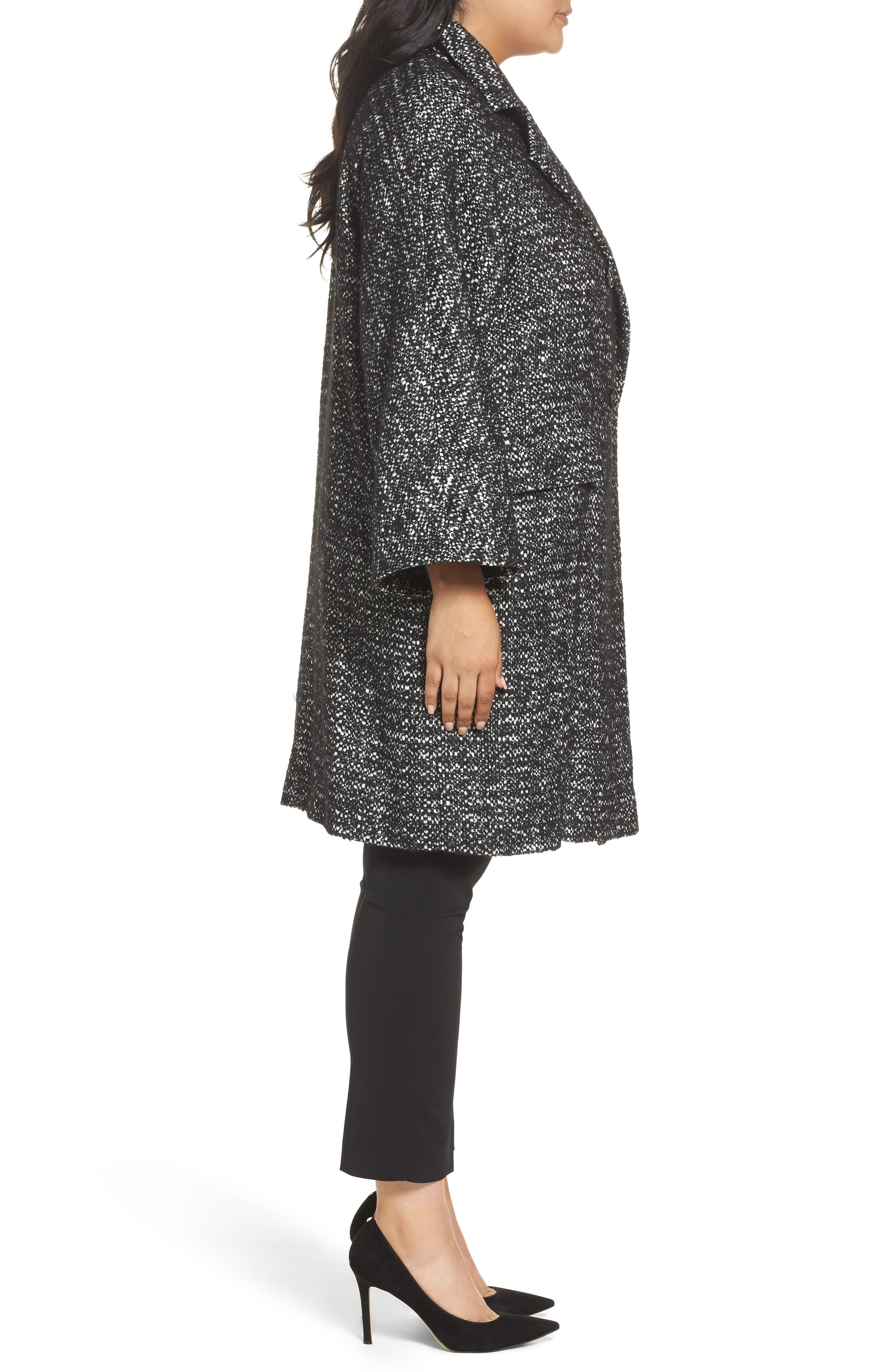 Tweed Car Coat,                             Alternate thumbnail 3, color,                             Black