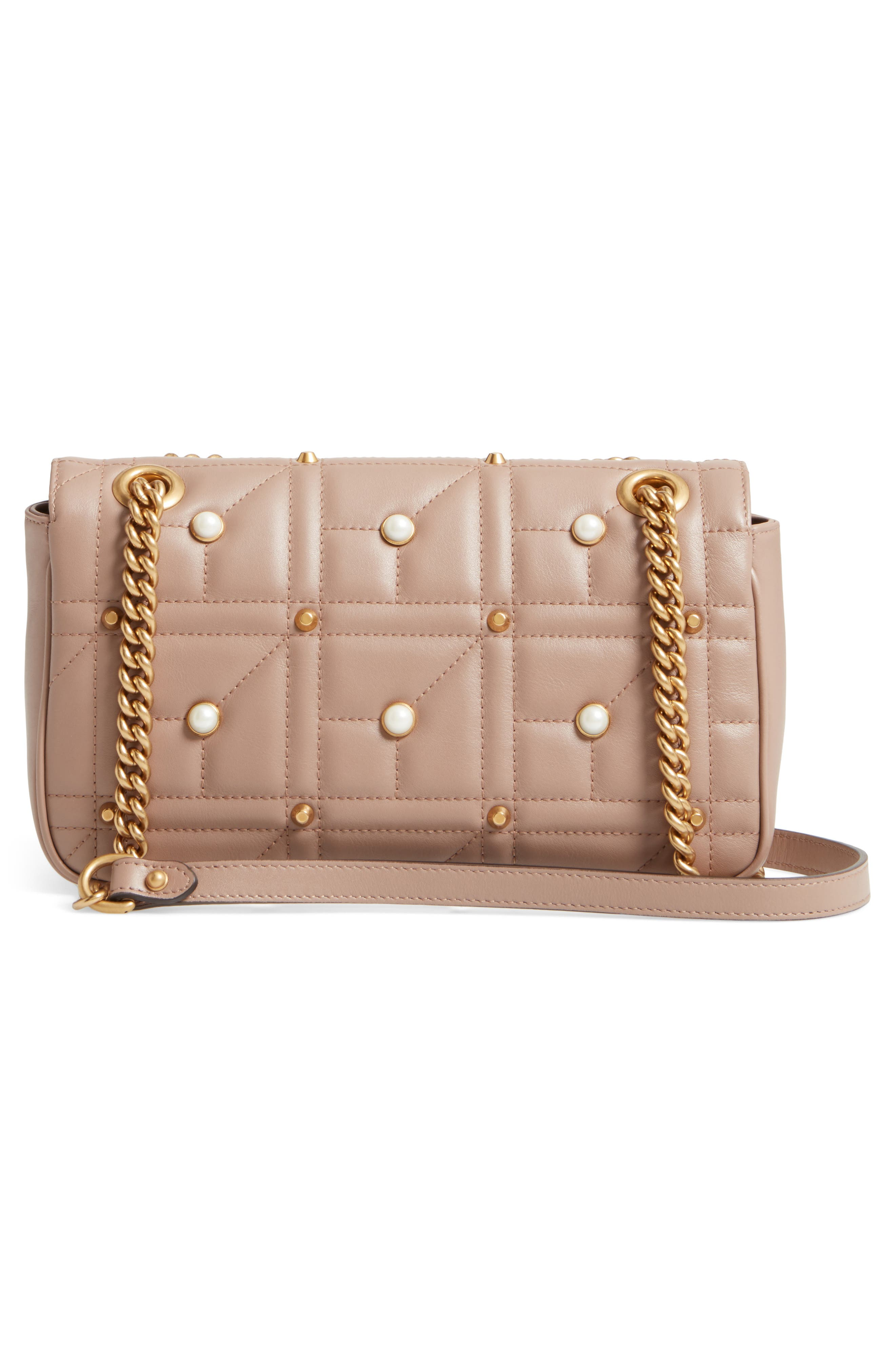 GG Marmont Matelassé Imitation Pearl Leather Shoulder Bag,                             Alternate thumbnail 2, color,                             White/ Pink