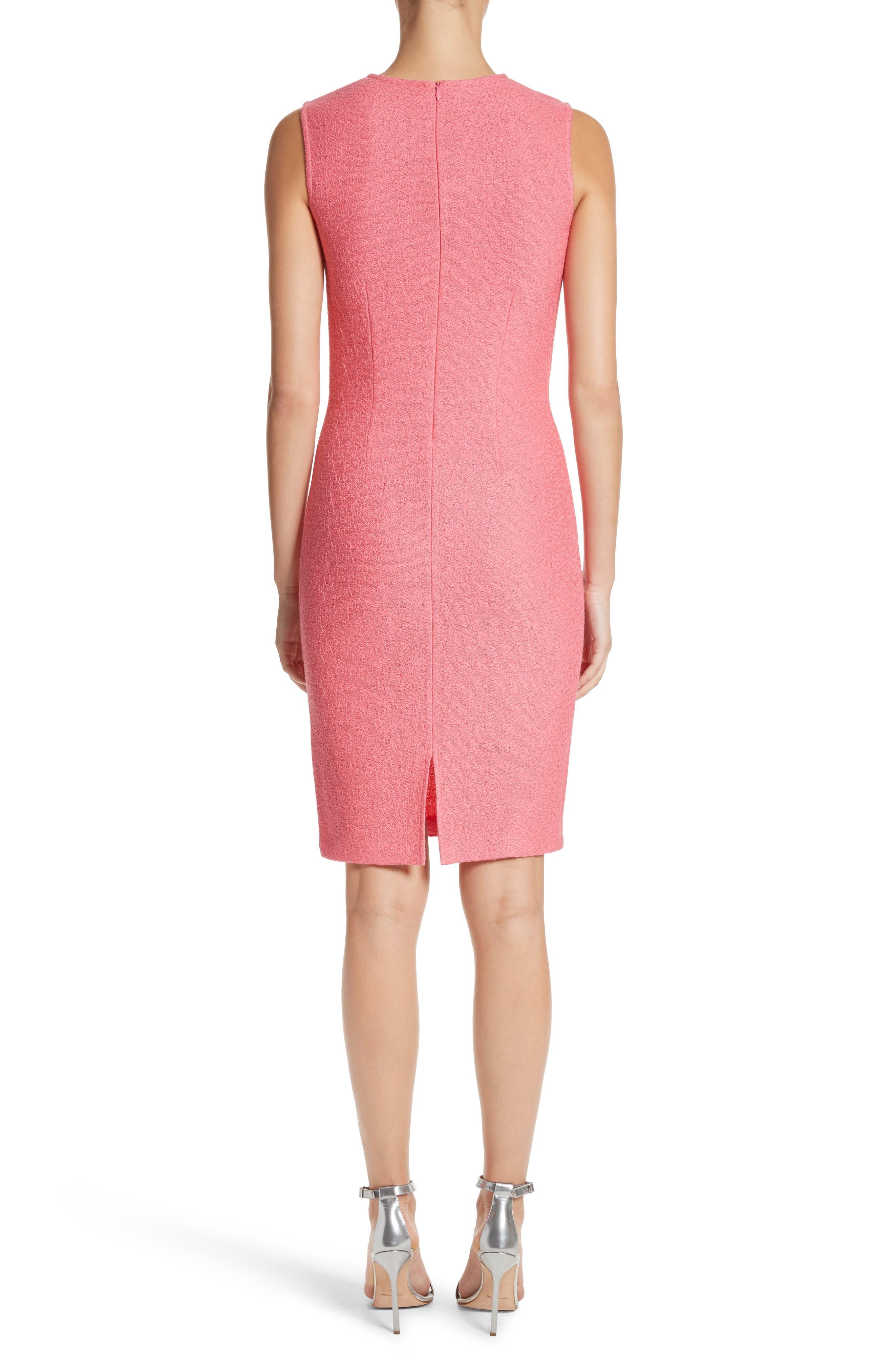Hannah Knit Sheath Dress,                             Alternate thumbnail 2, color,                             Bright Coral
