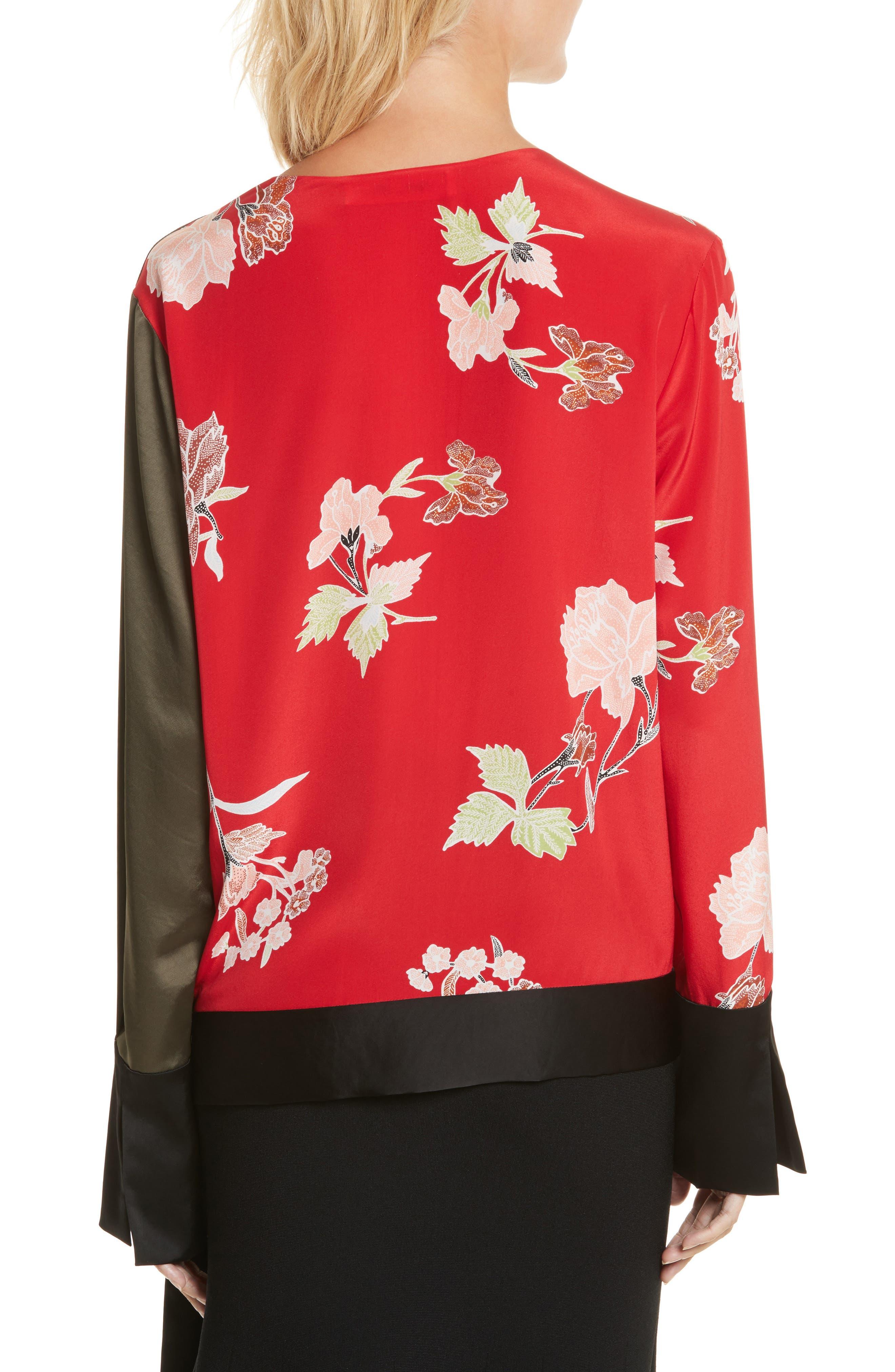 Diane von Furstenberg Bell Sleeve Crossover Silk Blouse,                             Alternate thumbnail 2, color,                             Everton Lipstick/ Olive