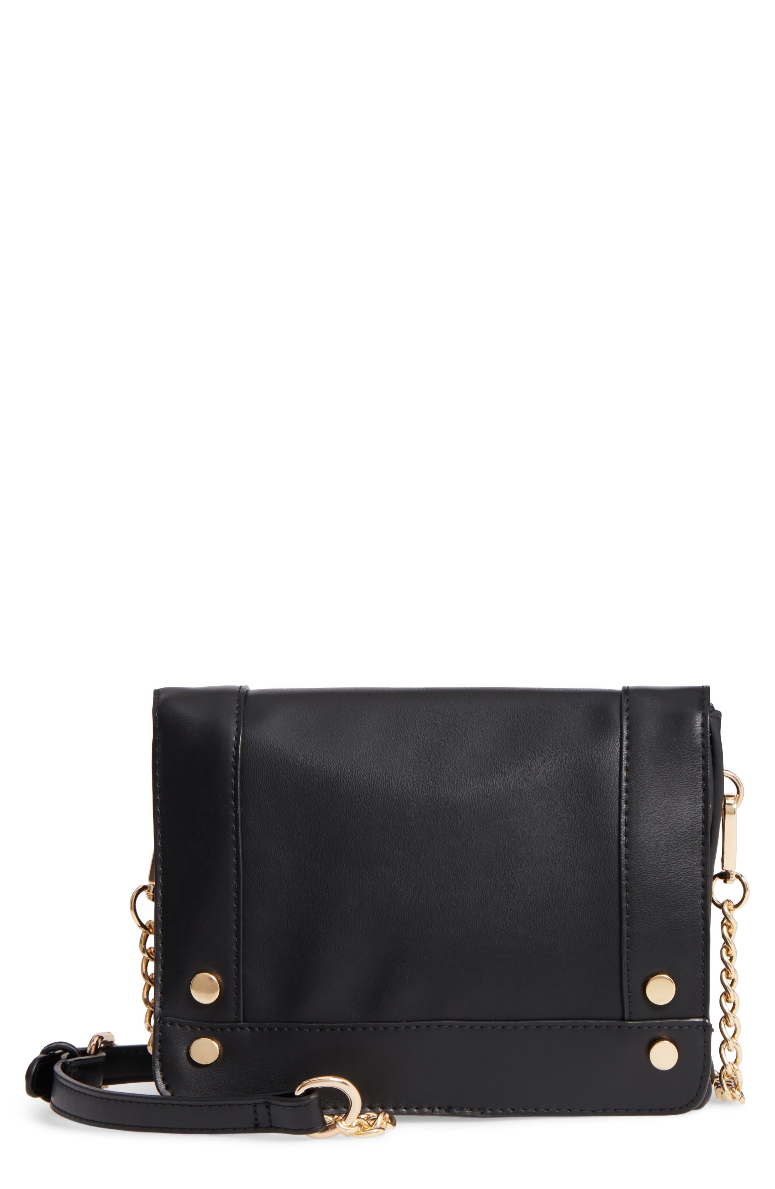 Studded Faux Leather Crossbody Bag,                             Main thumbnail 1, color,                             Black