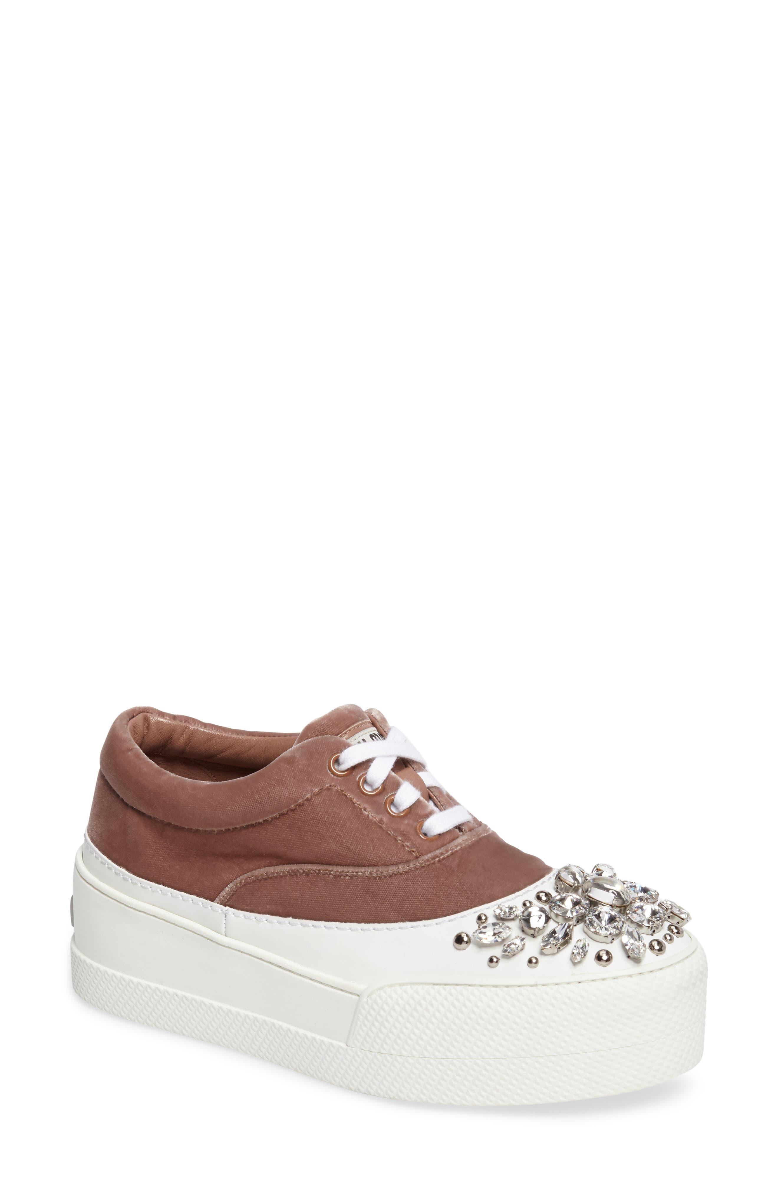 Main Image - Miu Miu Embellished Flatform Sneaker (Women)