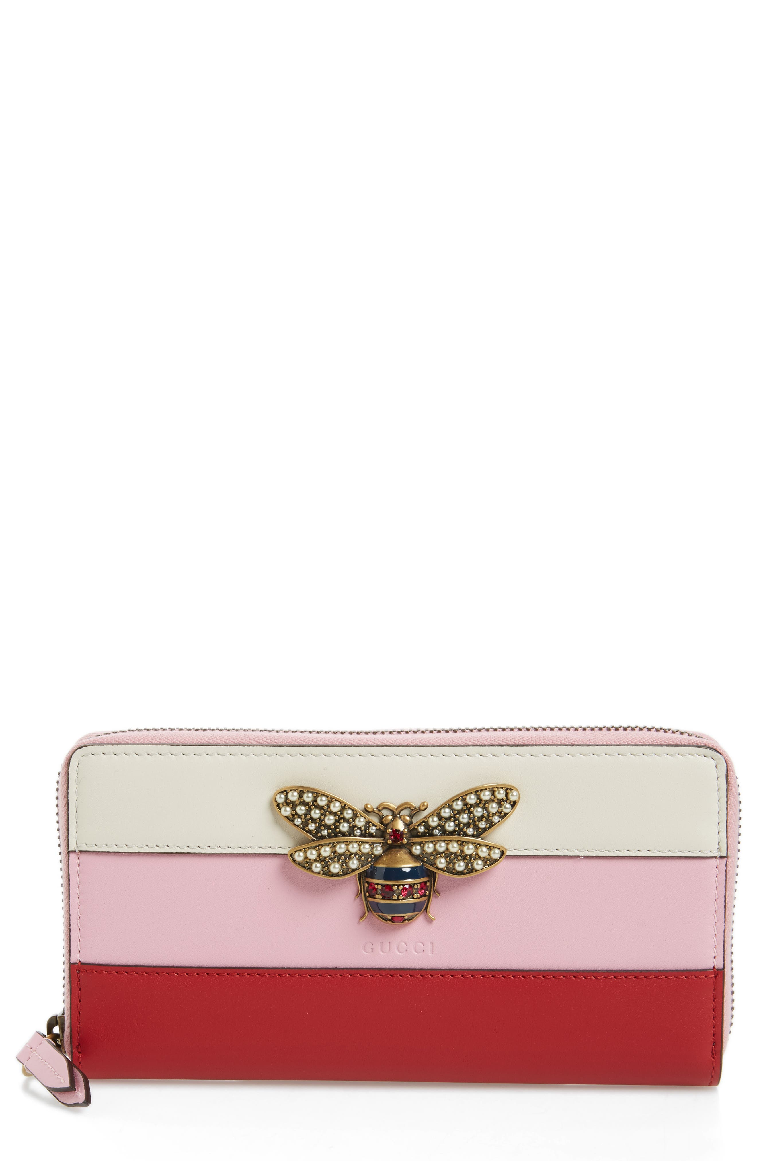 Embellished Bee Leather Zip Around Wallet,                         Main,                         color, Pink Multi