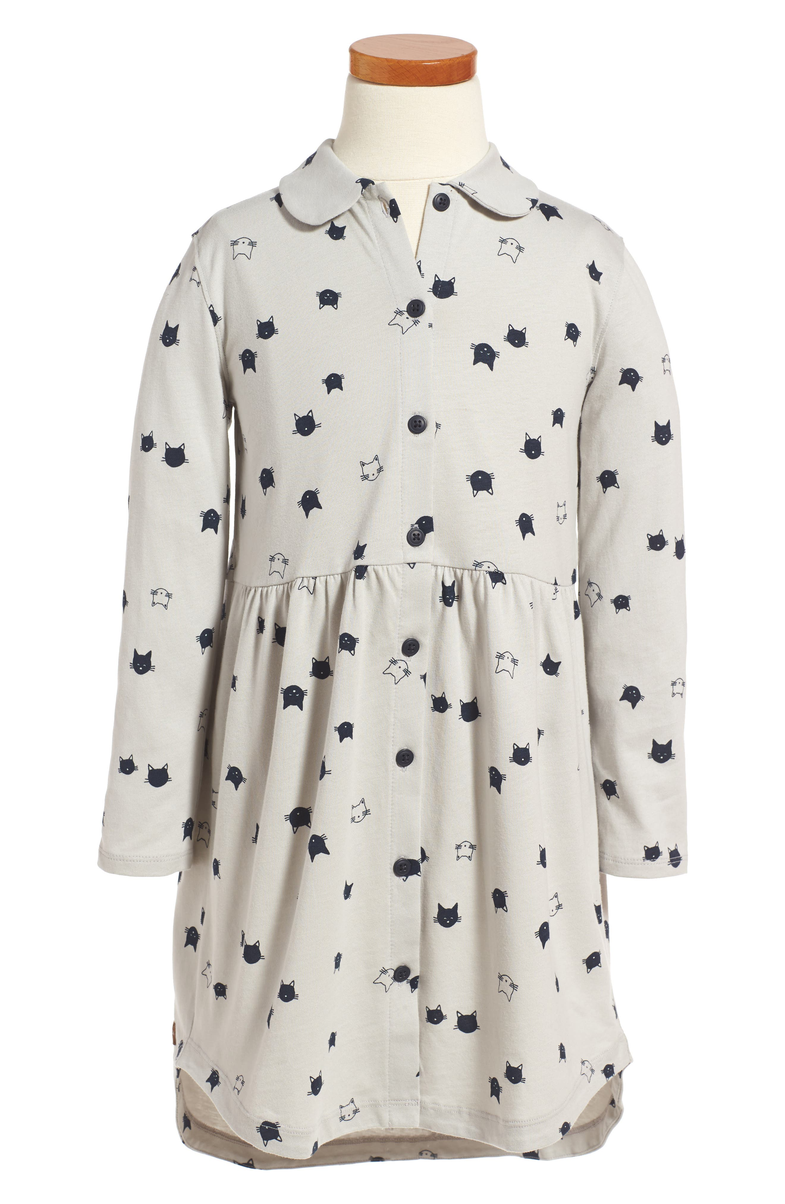 Alternate Image 1 Selected - Tea Collection Moggy Cat Shirtdress (Toddler Girls, Little Girls & Big Girls)