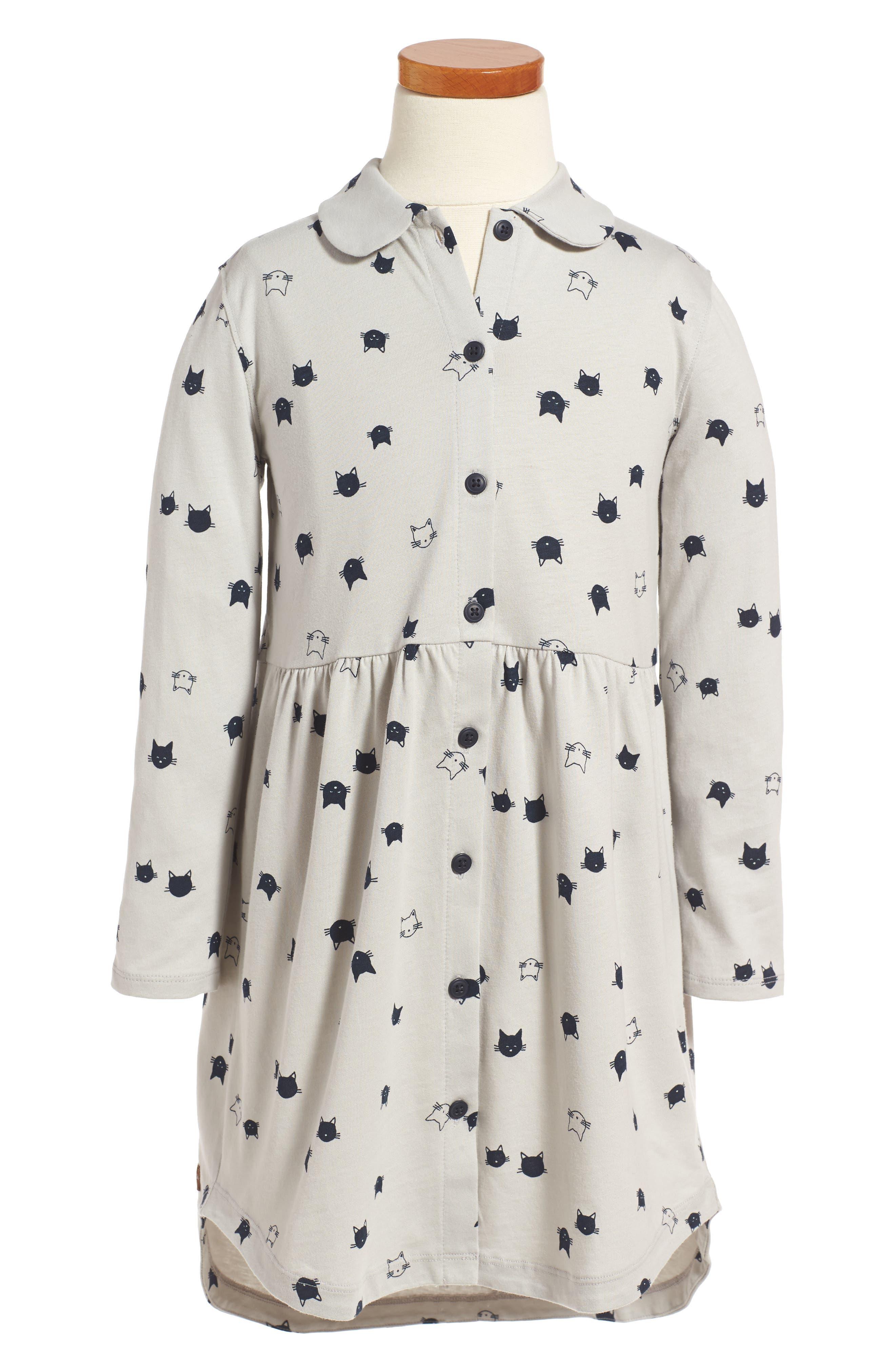 Main Image - Tea Collection Moggy Cat Shirtdress (Toddler Girls, Little Girls & Big Girls)