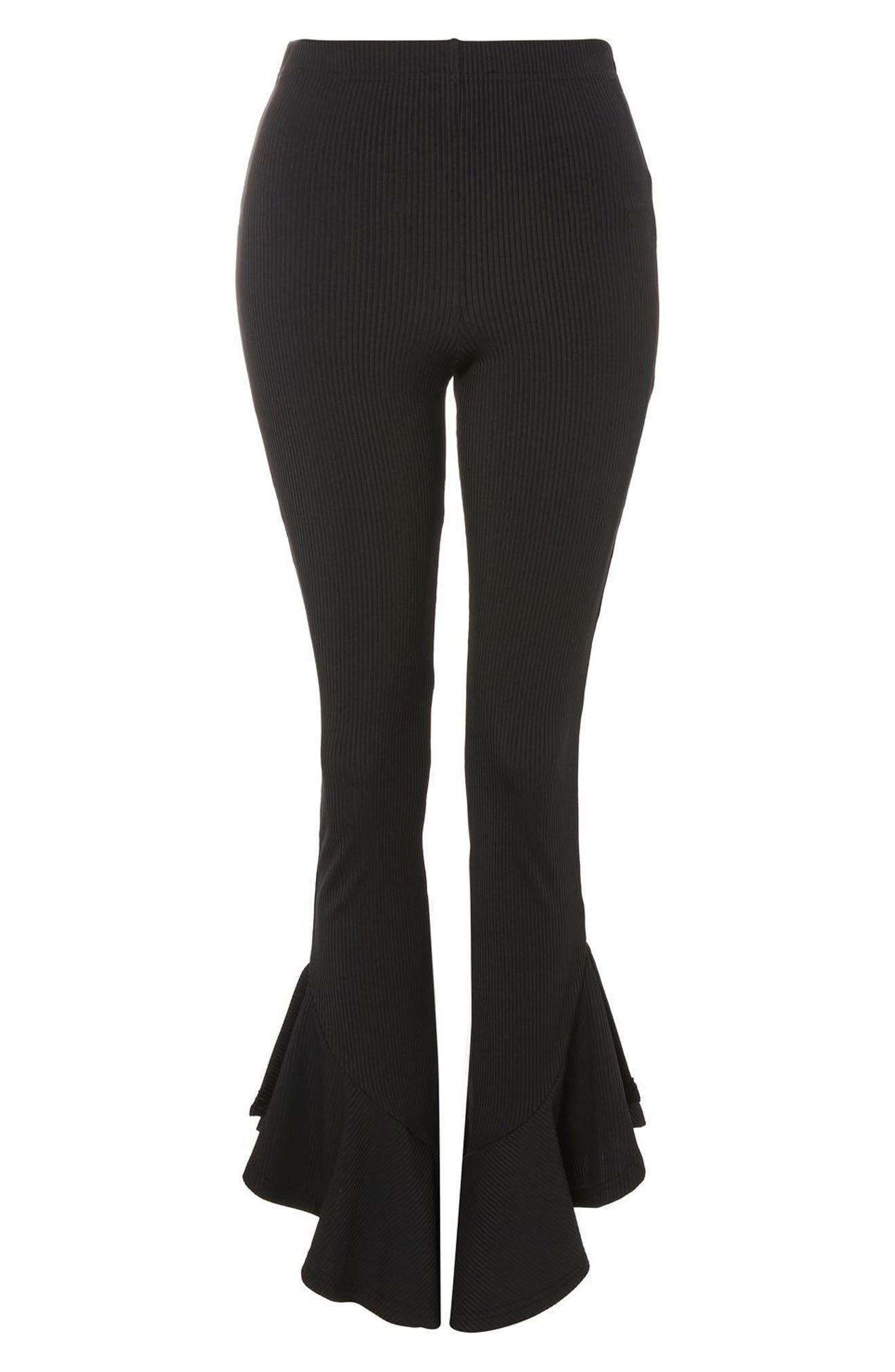 Mermaid Frill Flare Trousers,                             Alternate thumbnail 4, color,                             Black