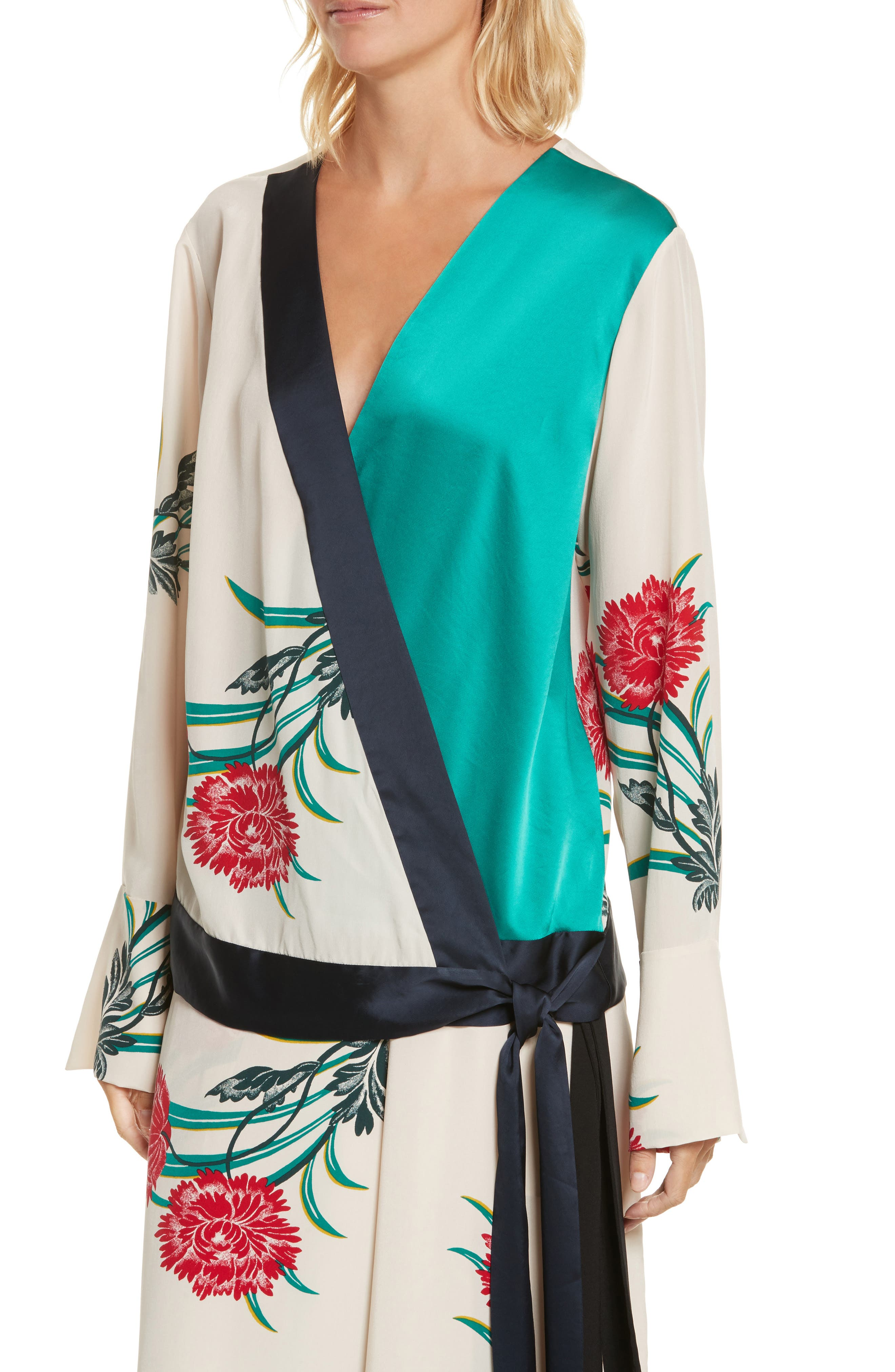 Diane von Furstenberg Bell Sleeve Crossover Silk Blouse,                             Alternate thumbnail 4, color,                             Farren Pearl/ Alex Navy/ Jade