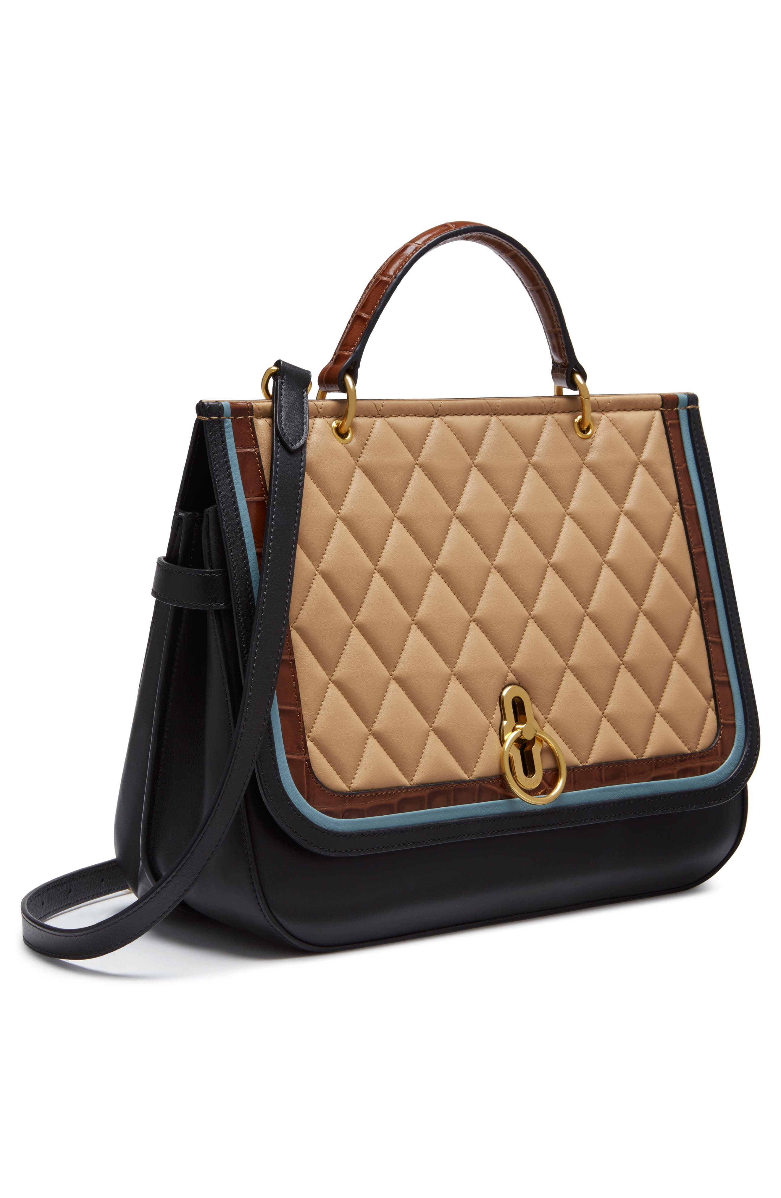 Amberley Quilted Calfskin Leather Satchel,                             Alternate thumbnail 4, color,                             Black/ Tan/ Multi